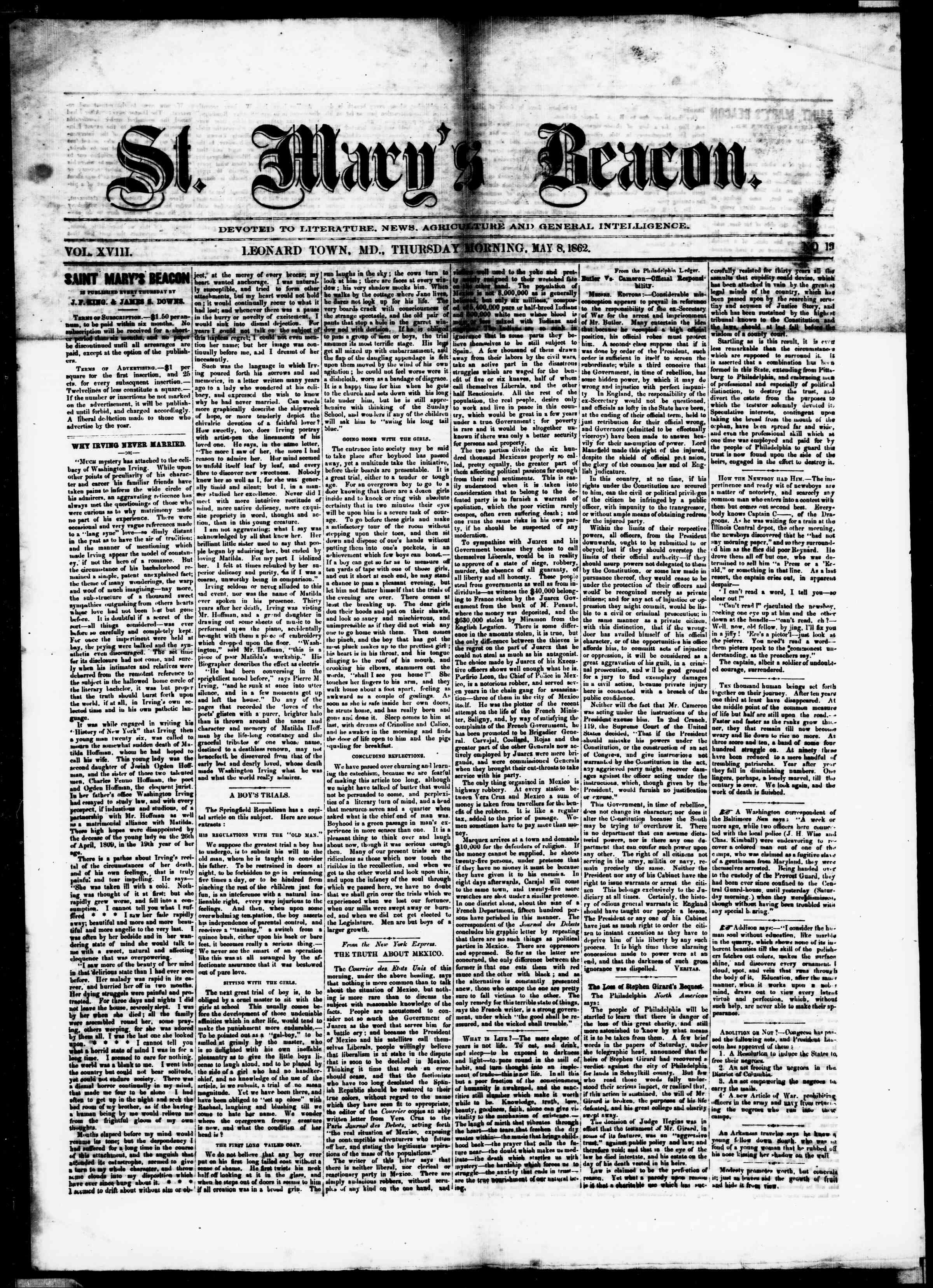Newspaper of St. Mary's Beacon dated May 8, 1862 Page 1