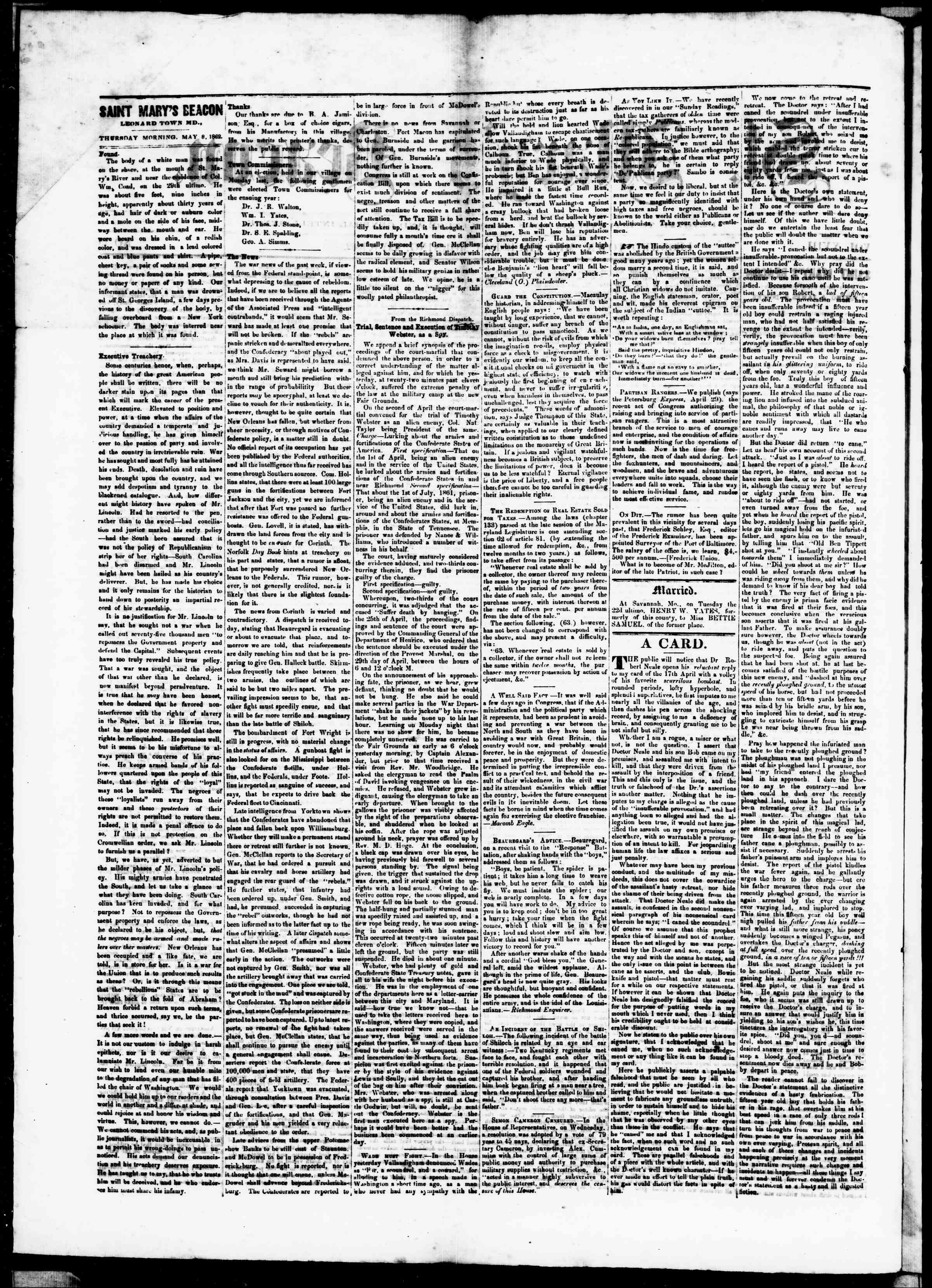 Newspaper of St. Mary's Beacon dated May 8, 1862 Page 2