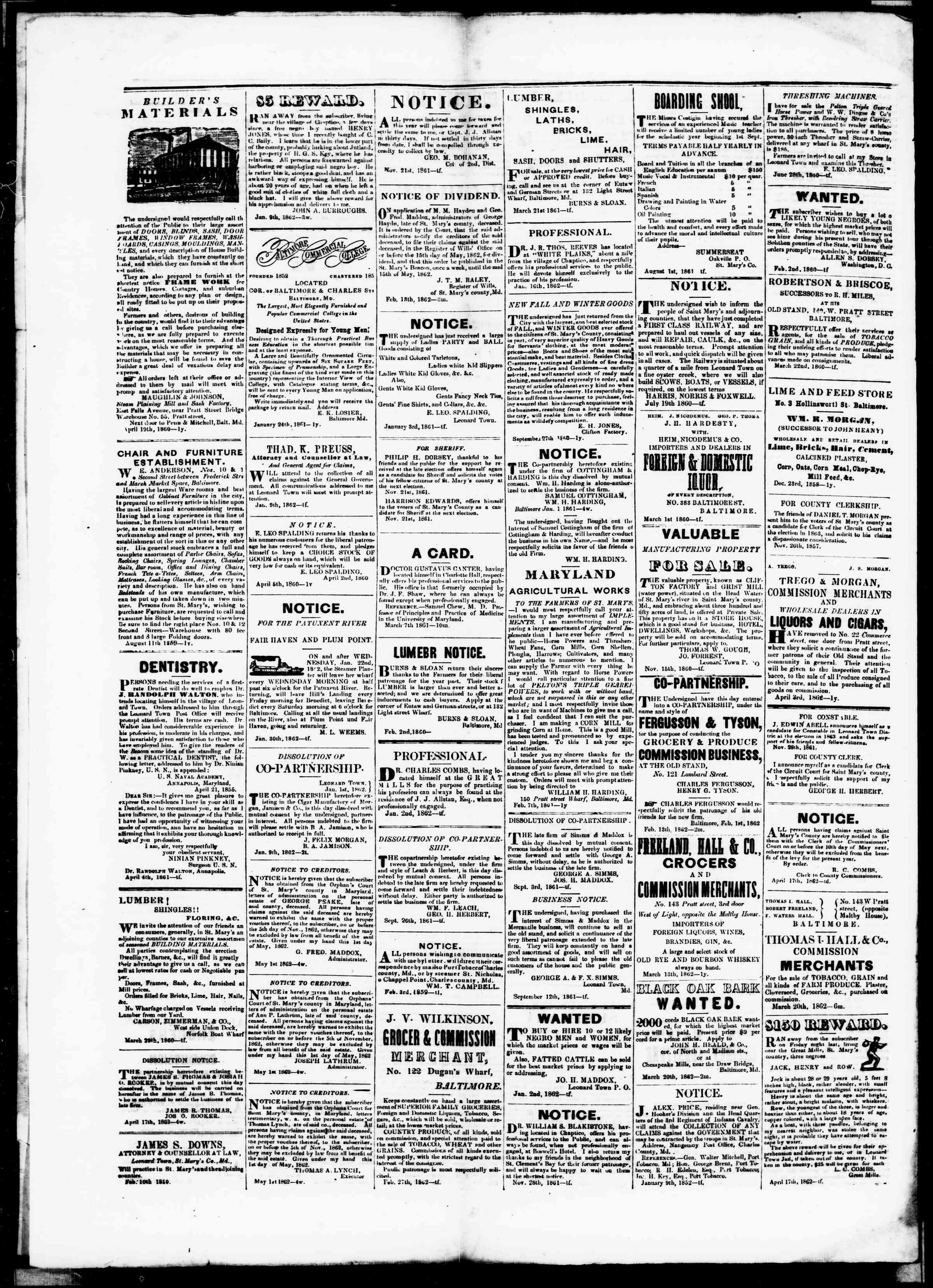 Newspaper of St. Mary's Beacon dated May 8, 1862 Page 4