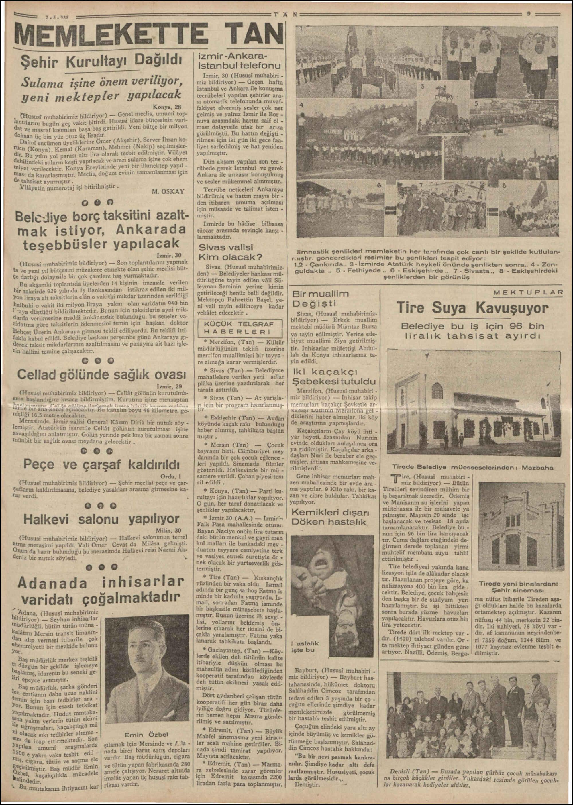 2 Mayıs 1935 Tarihli Tan Dergisi Sayfa 9