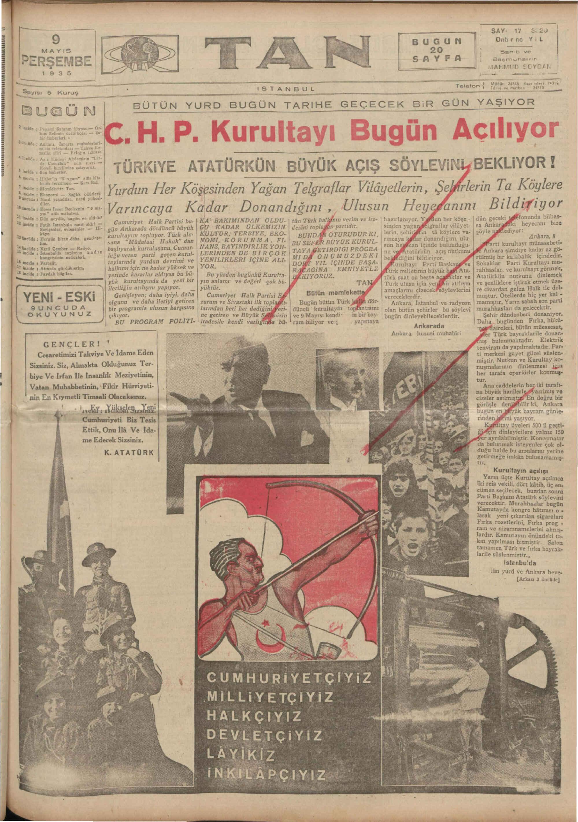 9 Mayıs 1935 Tarihli Tan Gazetesi Sayfa 1