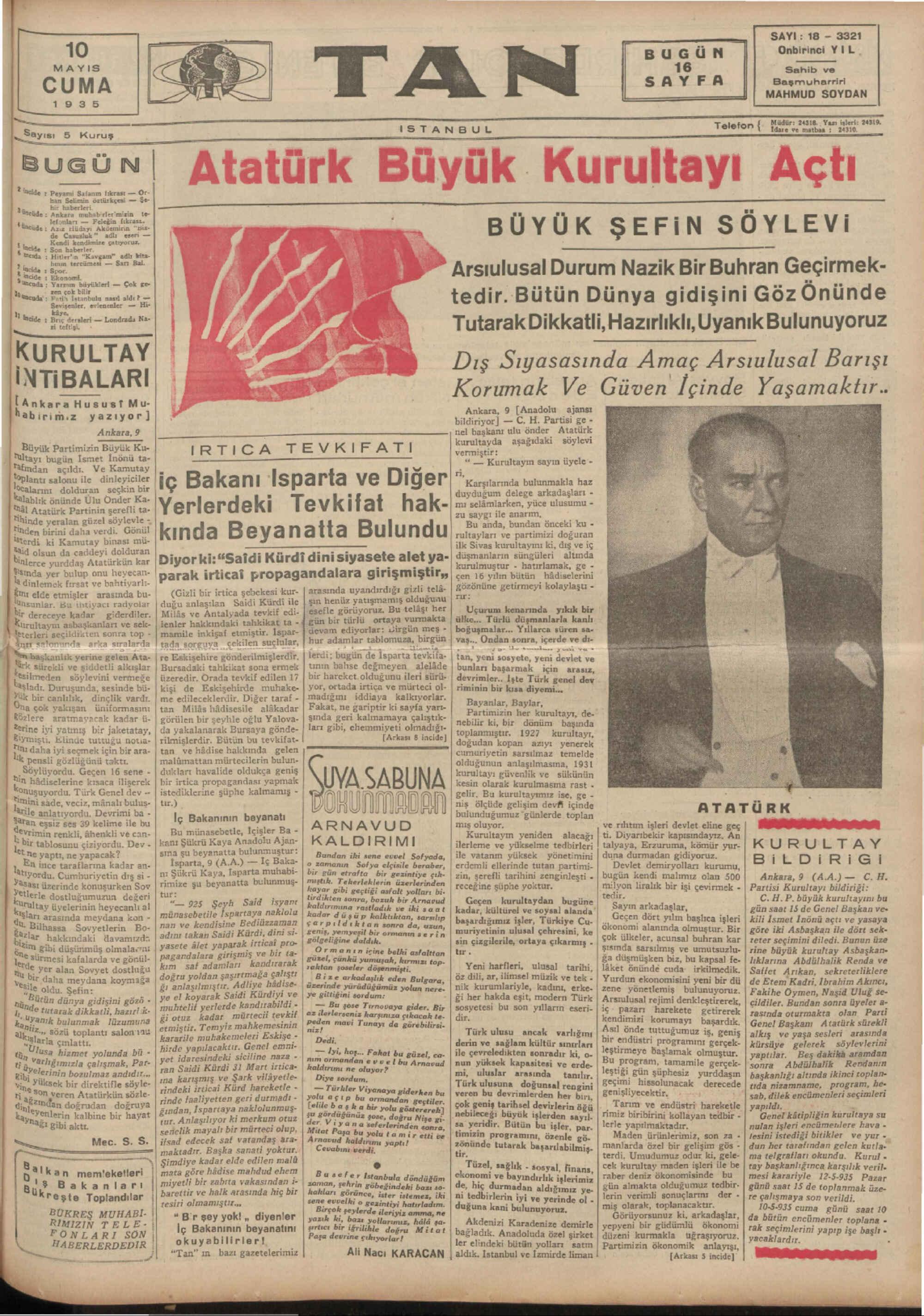 10 Mayıs 1935 Tarihli Tan Gazetesi Sayfa 1