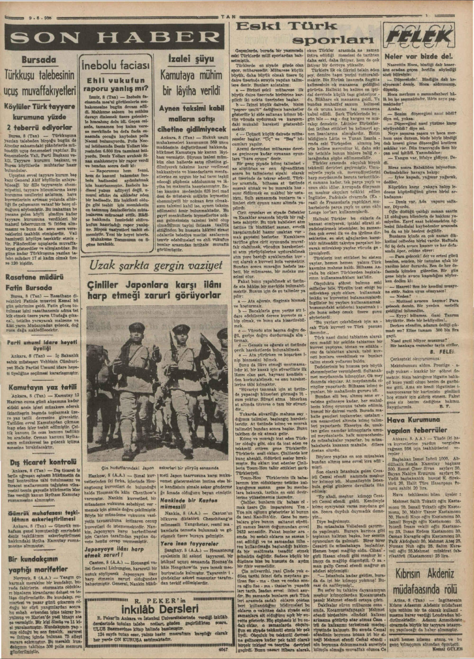 9 Haziran 1936 Tarihli Tan Gazetesi Sayfa 3