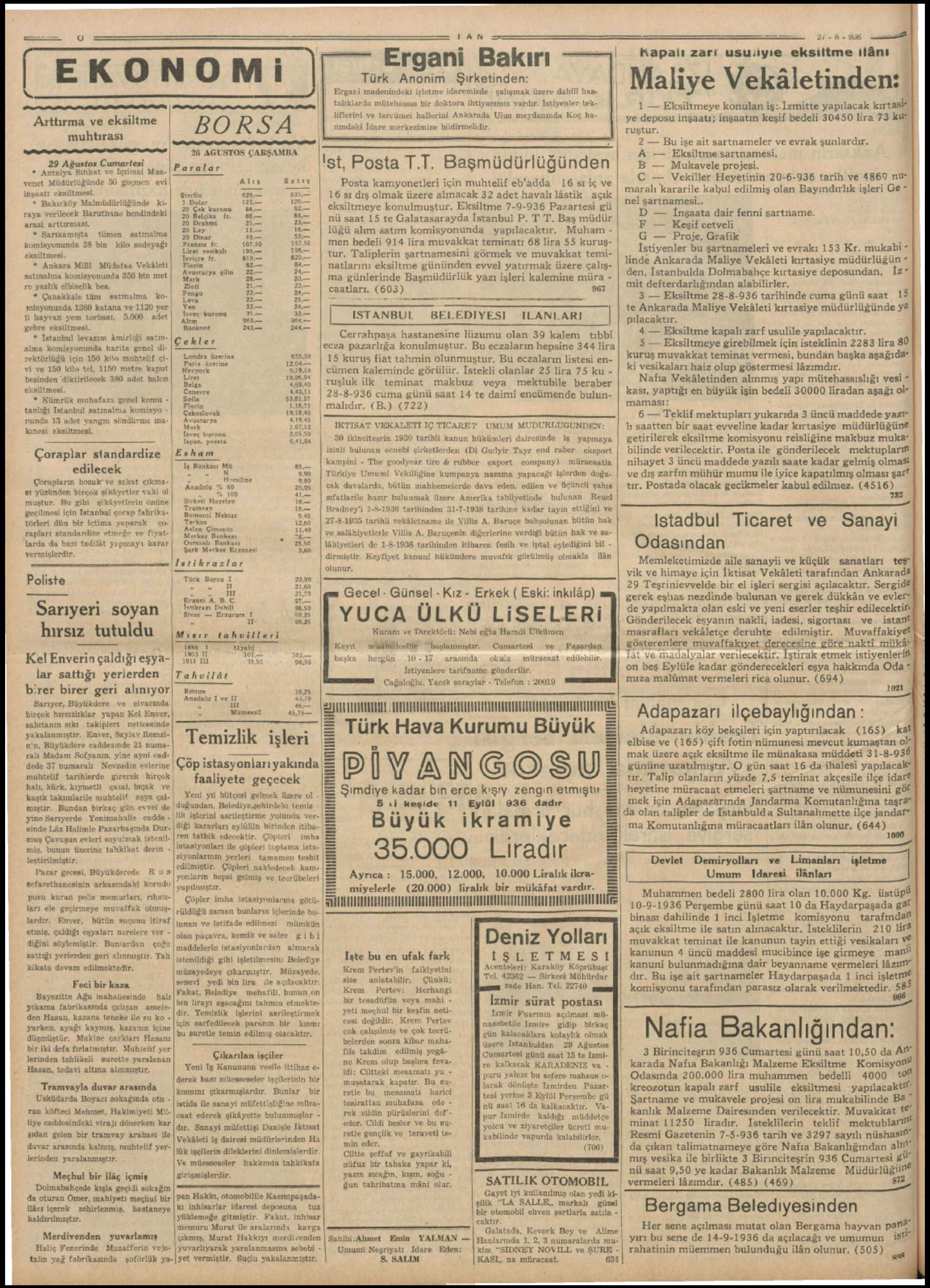 27 Ağustos 1936 Tarihli Tan Dergisi Sayfa 10