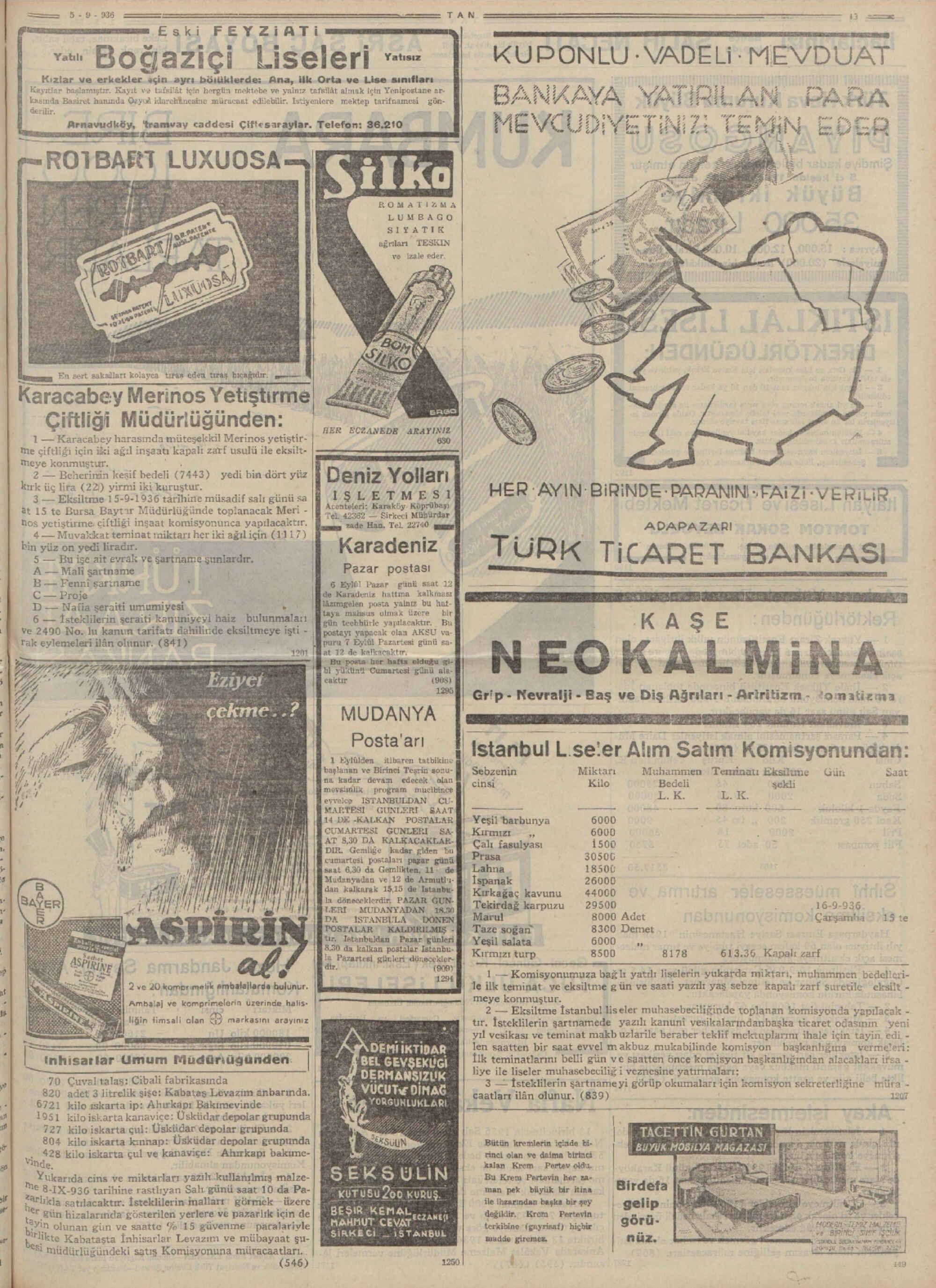 5 Eylül 1936 Tarihli Tan Gazetesi Sayfa 13