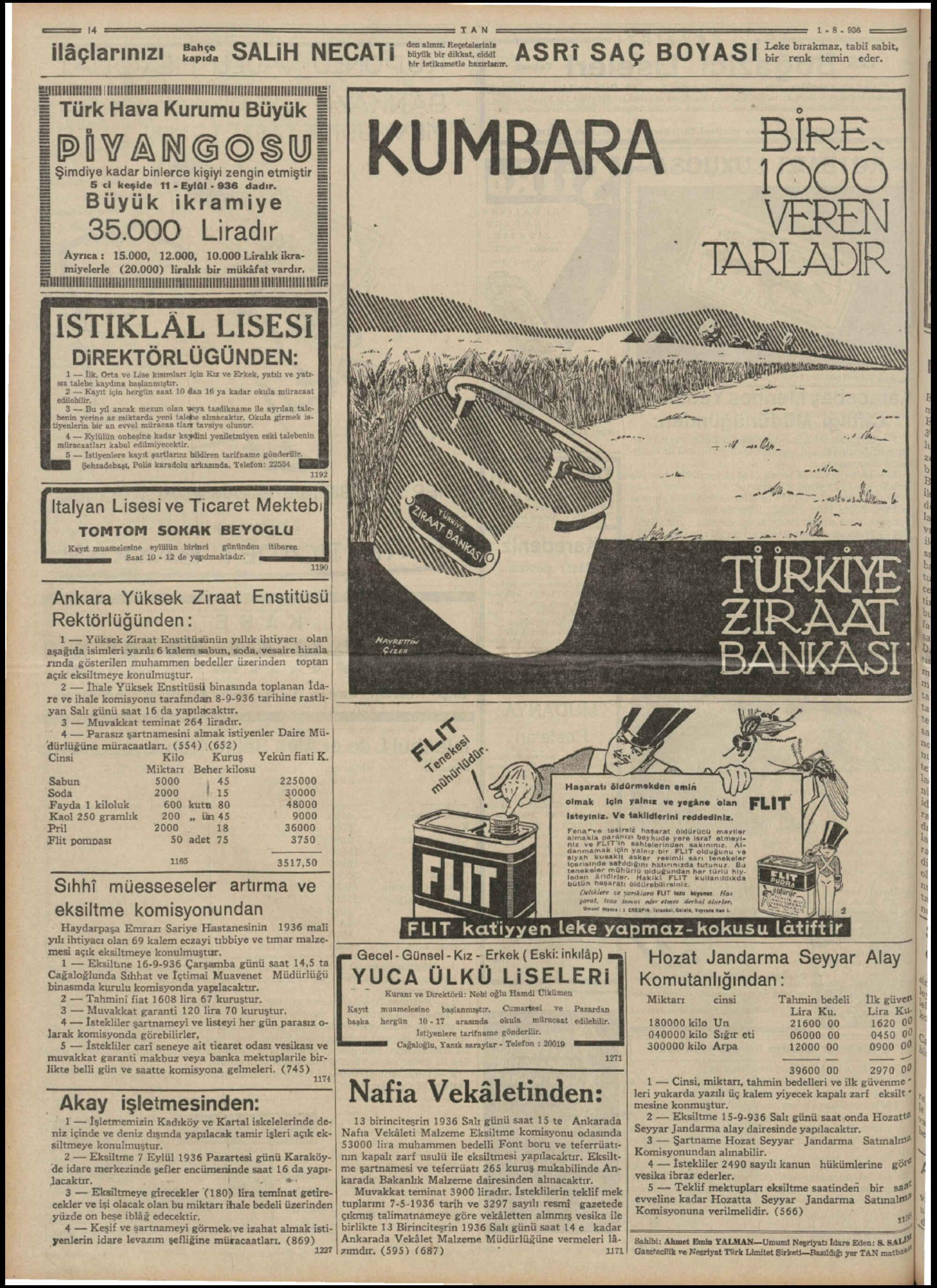 September 5, 1936 Tarihli Tan Gazetesi Sayfa 14