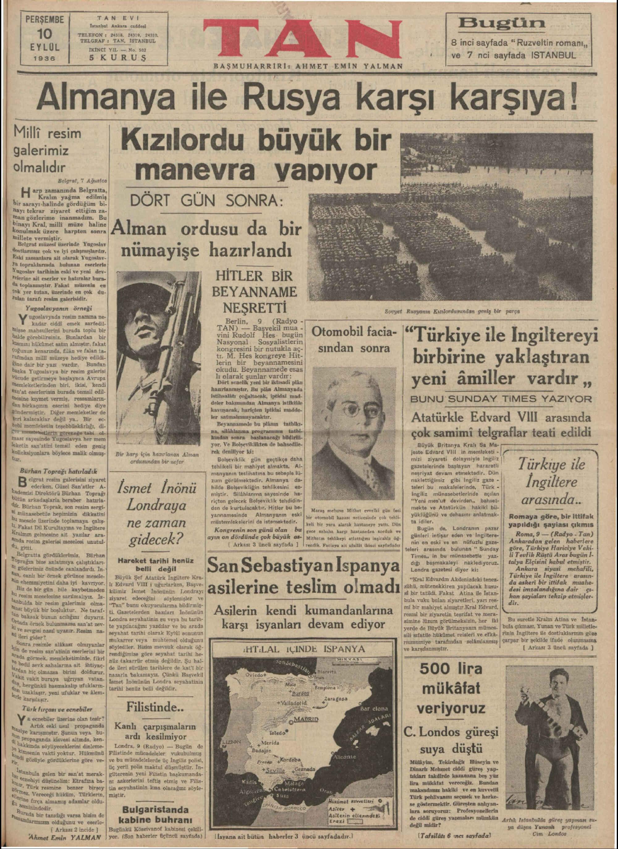 10 Eylül 1936 Tarihli Tan Gazetesi Sayfa 1