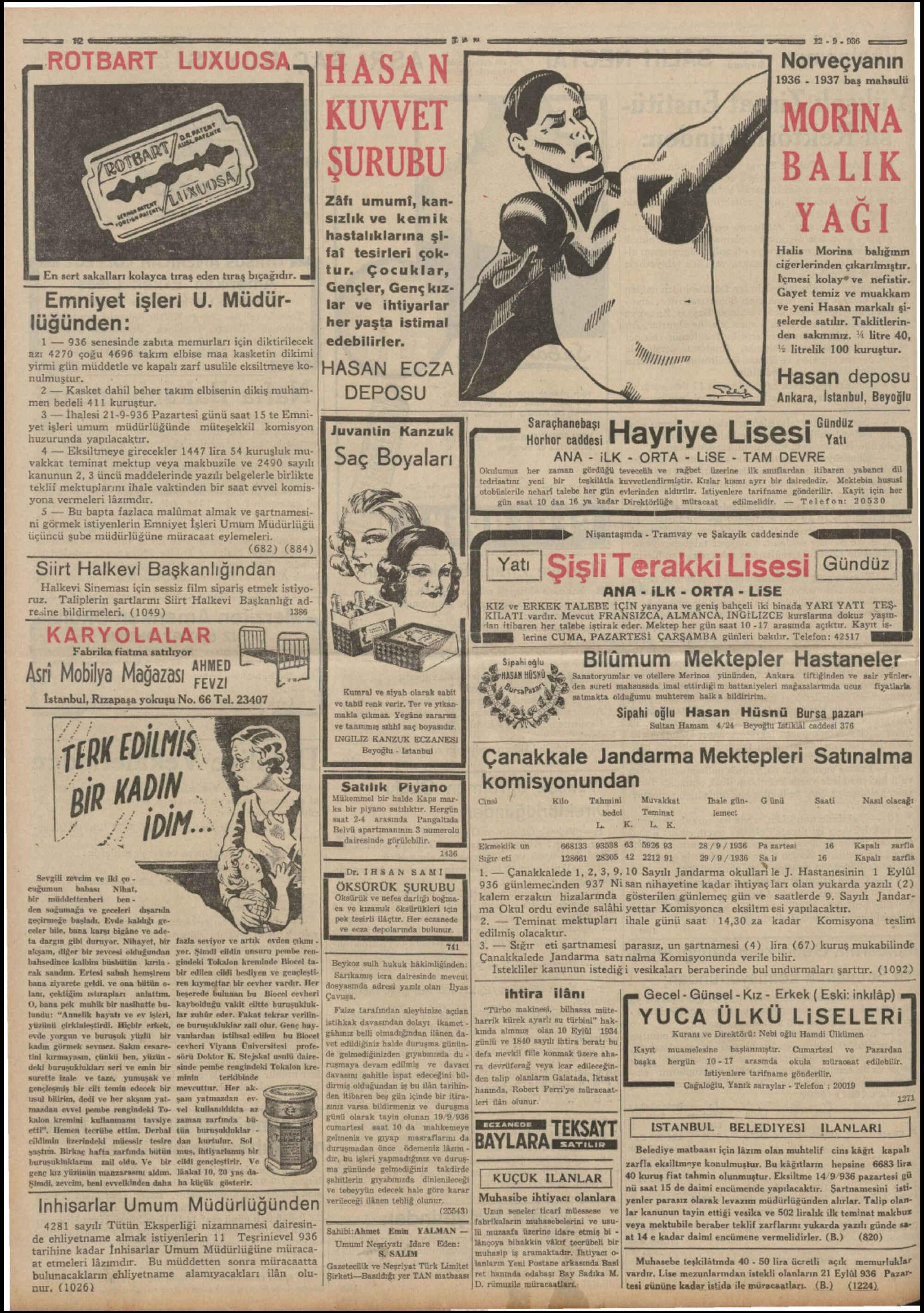 12 Eylül 1936 Tarihli Tan Dergisi Sayfa 12