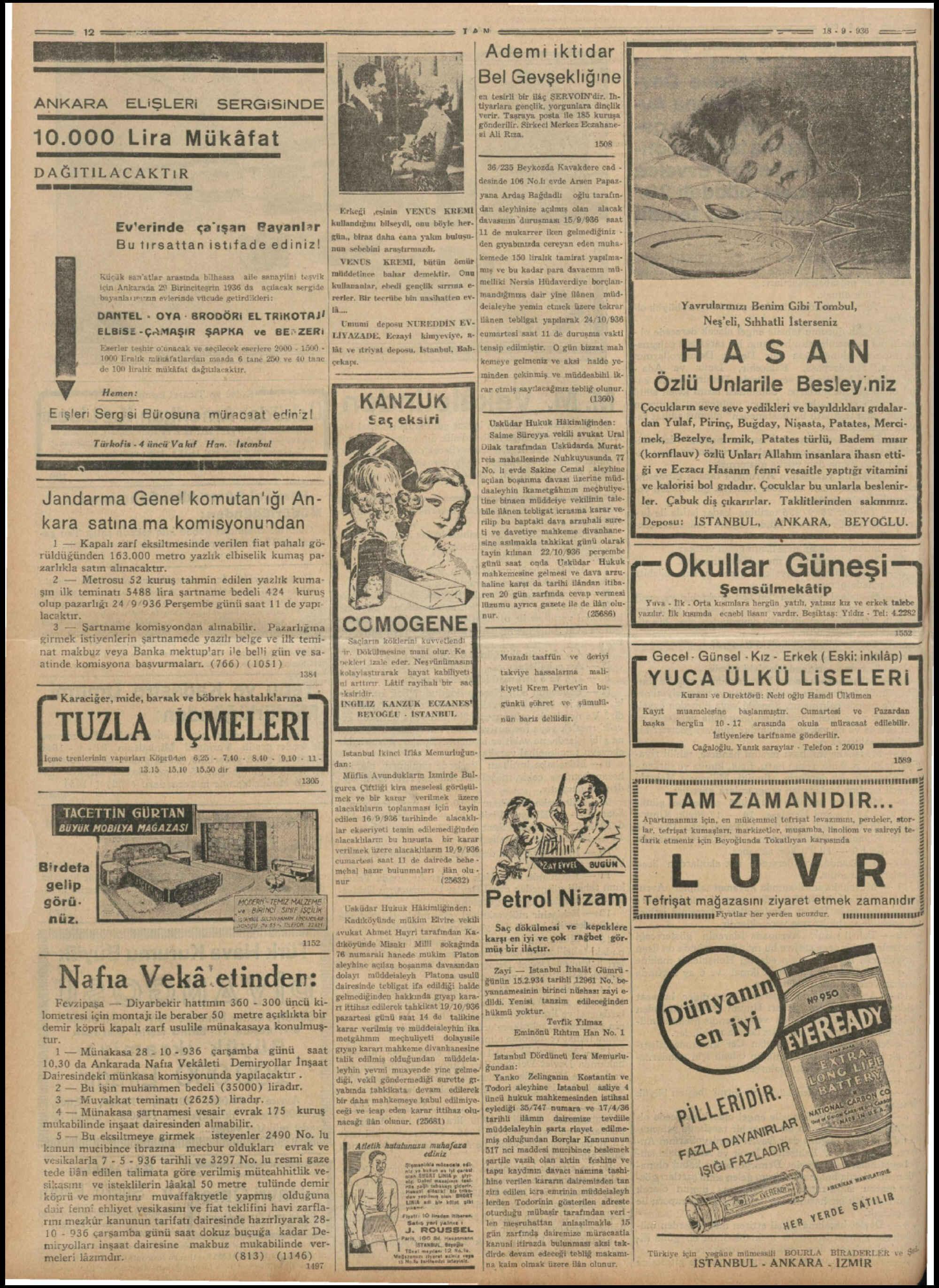 18 Eylül 1936 Tarihli Tan Dergisi Sayfa 12