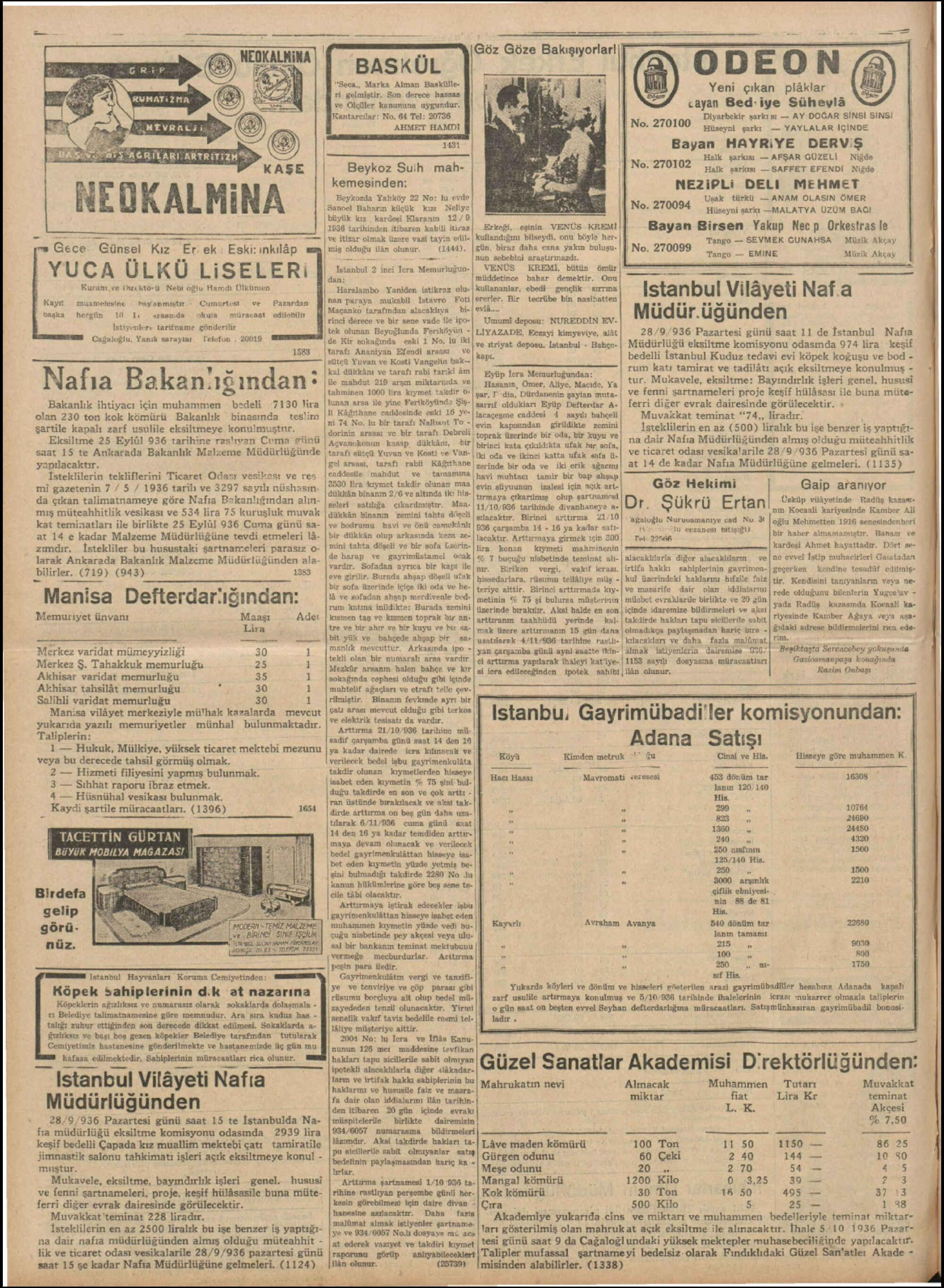 20 Eylül 1936 Tarihli Tan Dergisi Sayfa 12