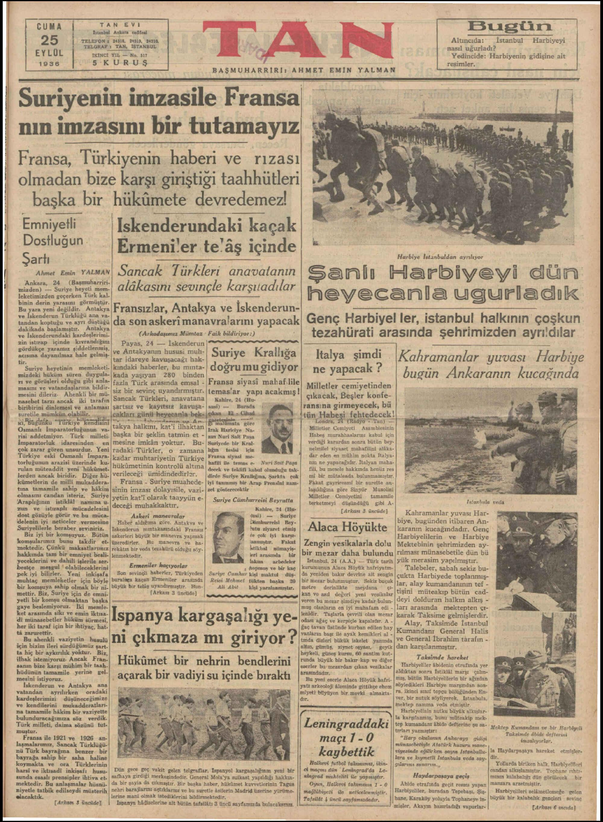 25 Eylül 1936 Tarihli Tan Gazetesi Sayfa 1