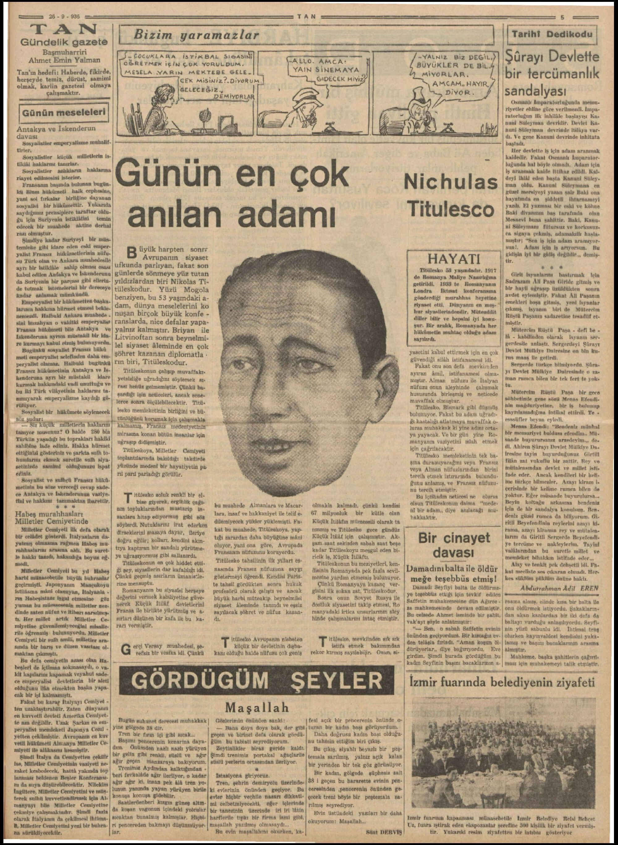 26 Eylül 1936 Tarihli Tan Gazetesi Sayfa 5