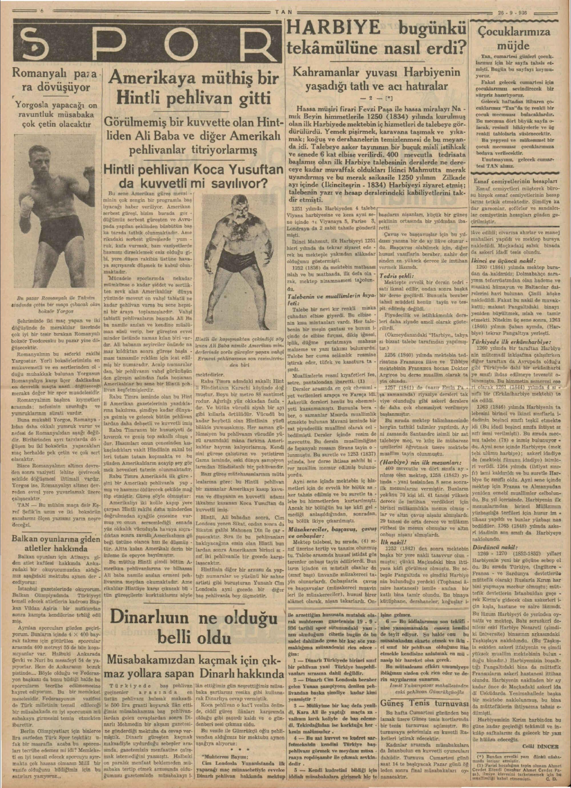 26 Eylül 1936 Tarihli Tan Dergisi Sayfa 6