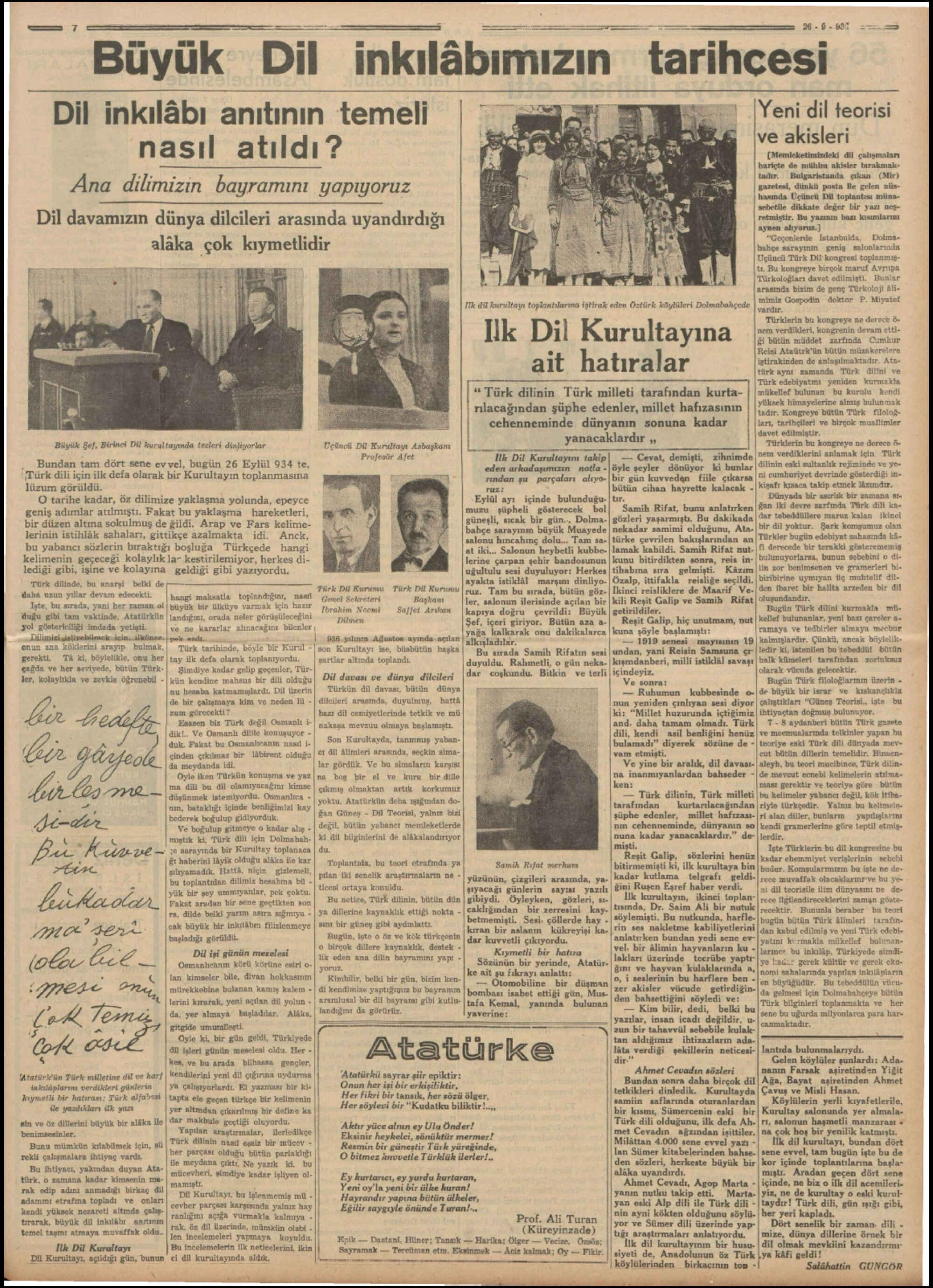 26 Eylül 1936 Tarihli Tan Gazetesi Sayfa 7