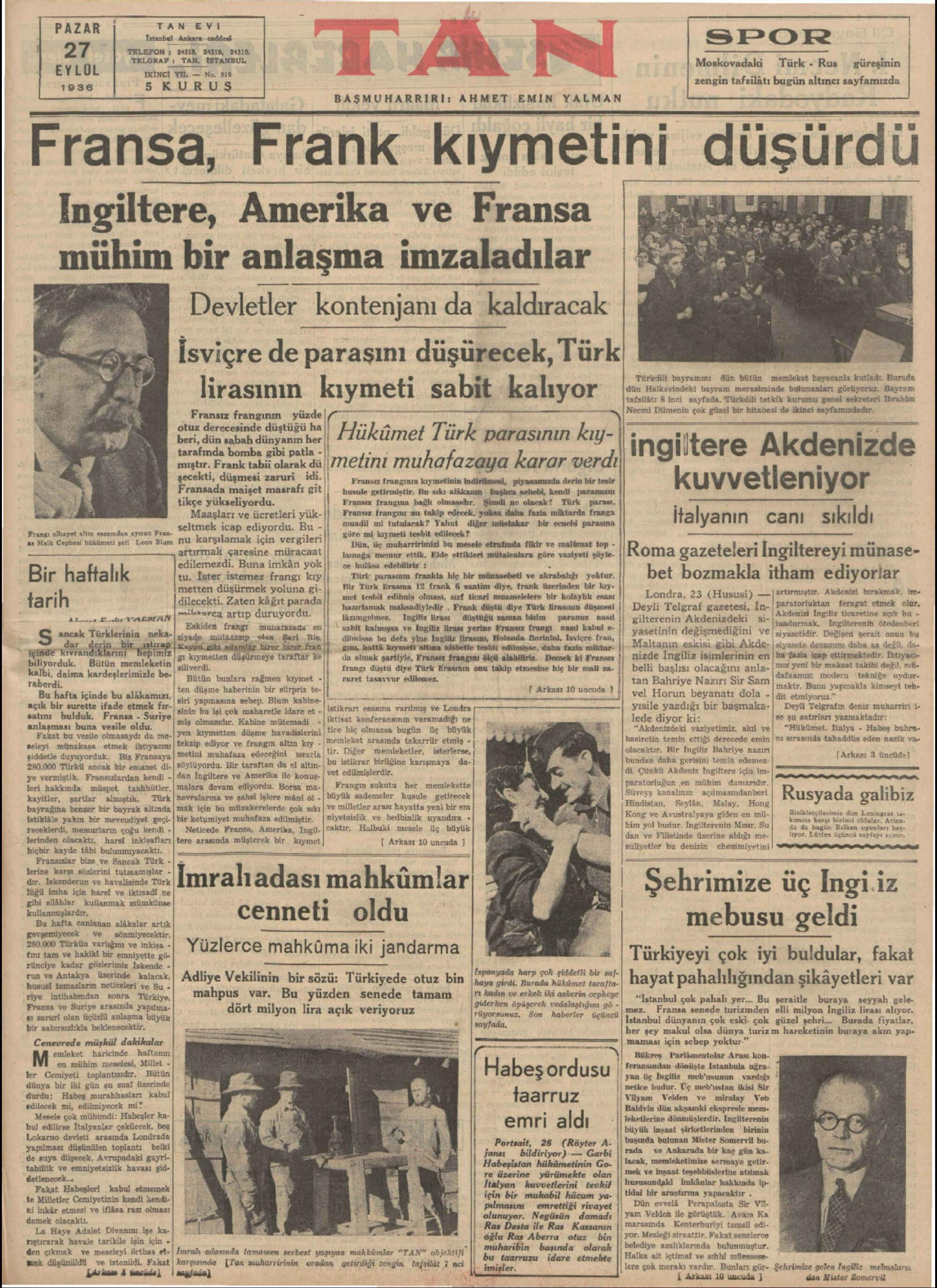 27 Eylül 1936 Tarihli Tan Gazetesi Sayfa 1