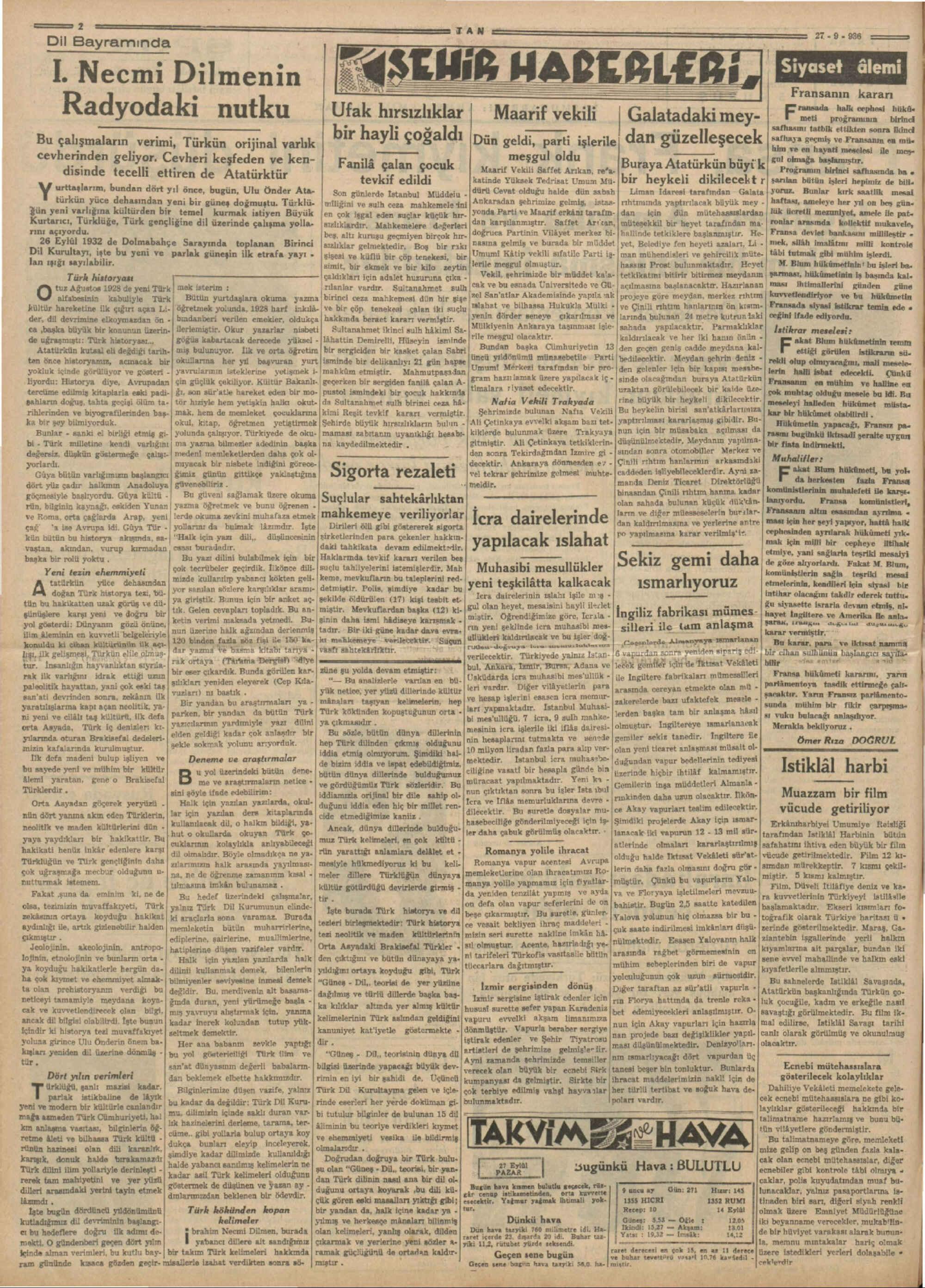 27 Eylül 1936 Tarihli Tan Gazetesi Sayfa 2