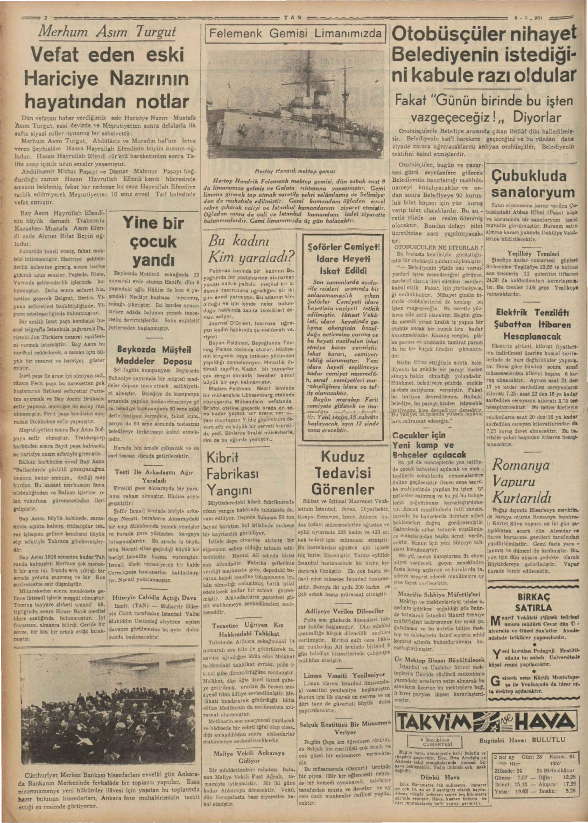 6 Şubat 1937 Tarihli Tan Gazetesi Sayfa 2