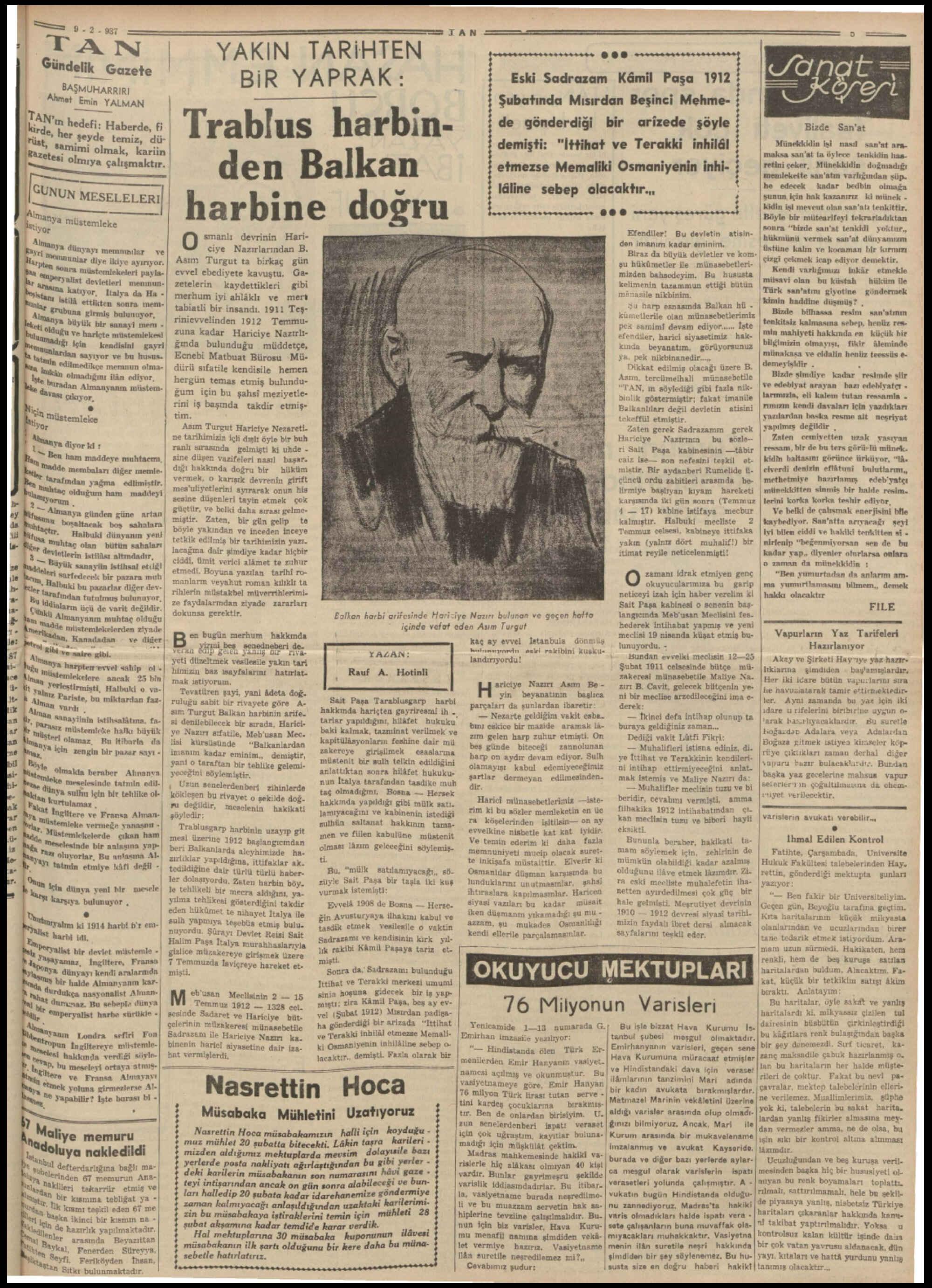 9 Şubat 1937 Tarihli Tan Gazetesi Sayfa 5