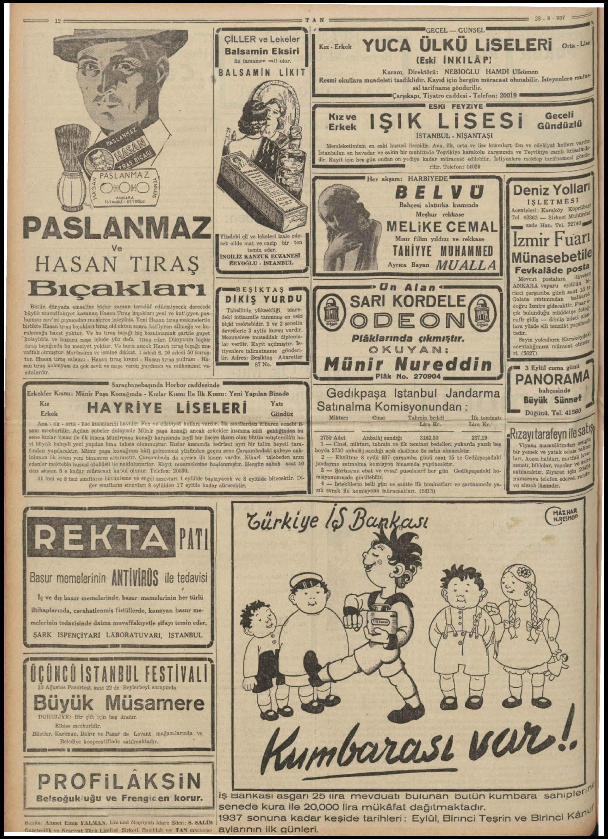 28 Ağustos 1937 Tarihli Tan Dergisi Sayfa 12