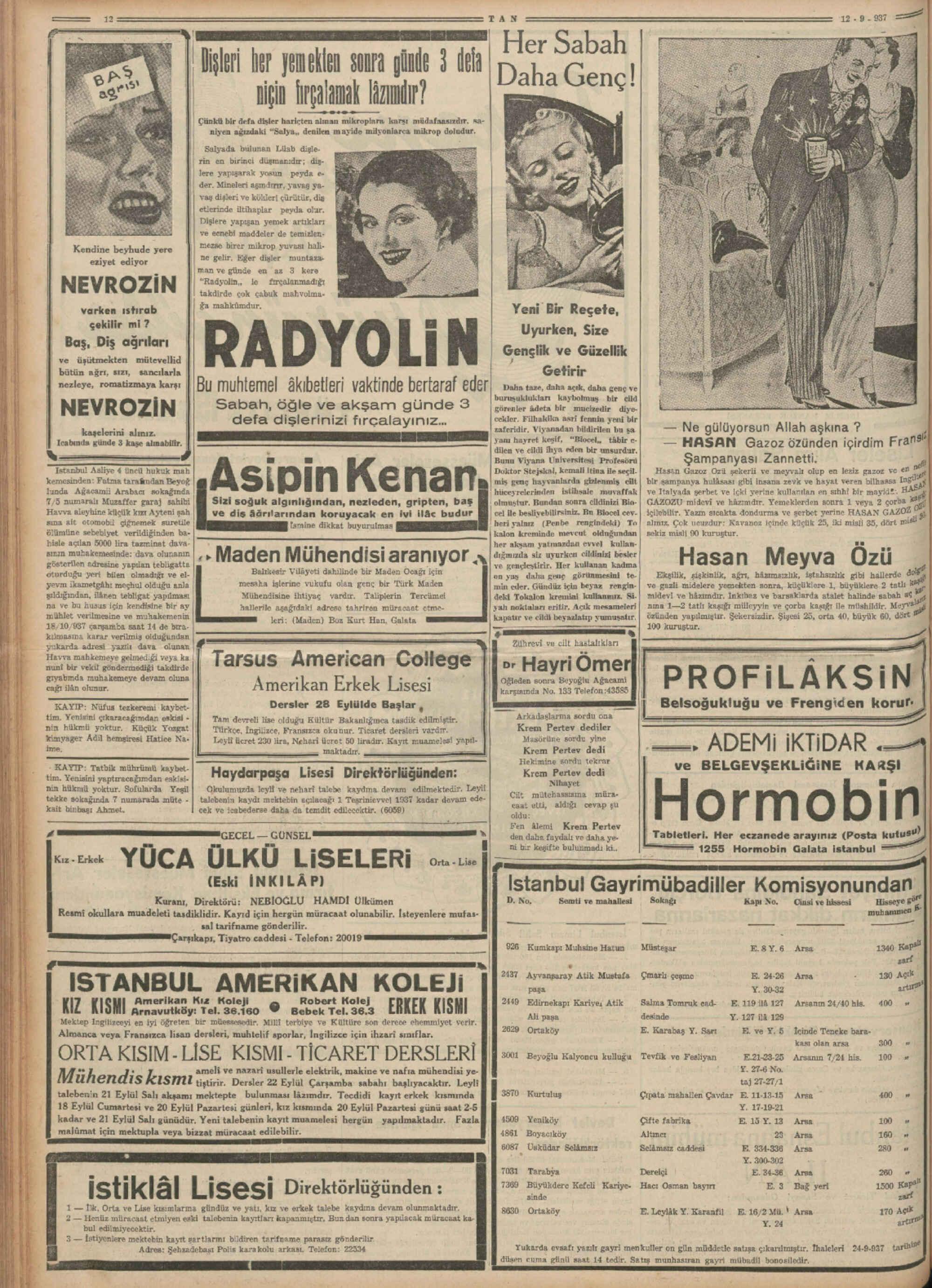 12 Eylül 1937 Tarihli Tan Dergisi Sayfa 12