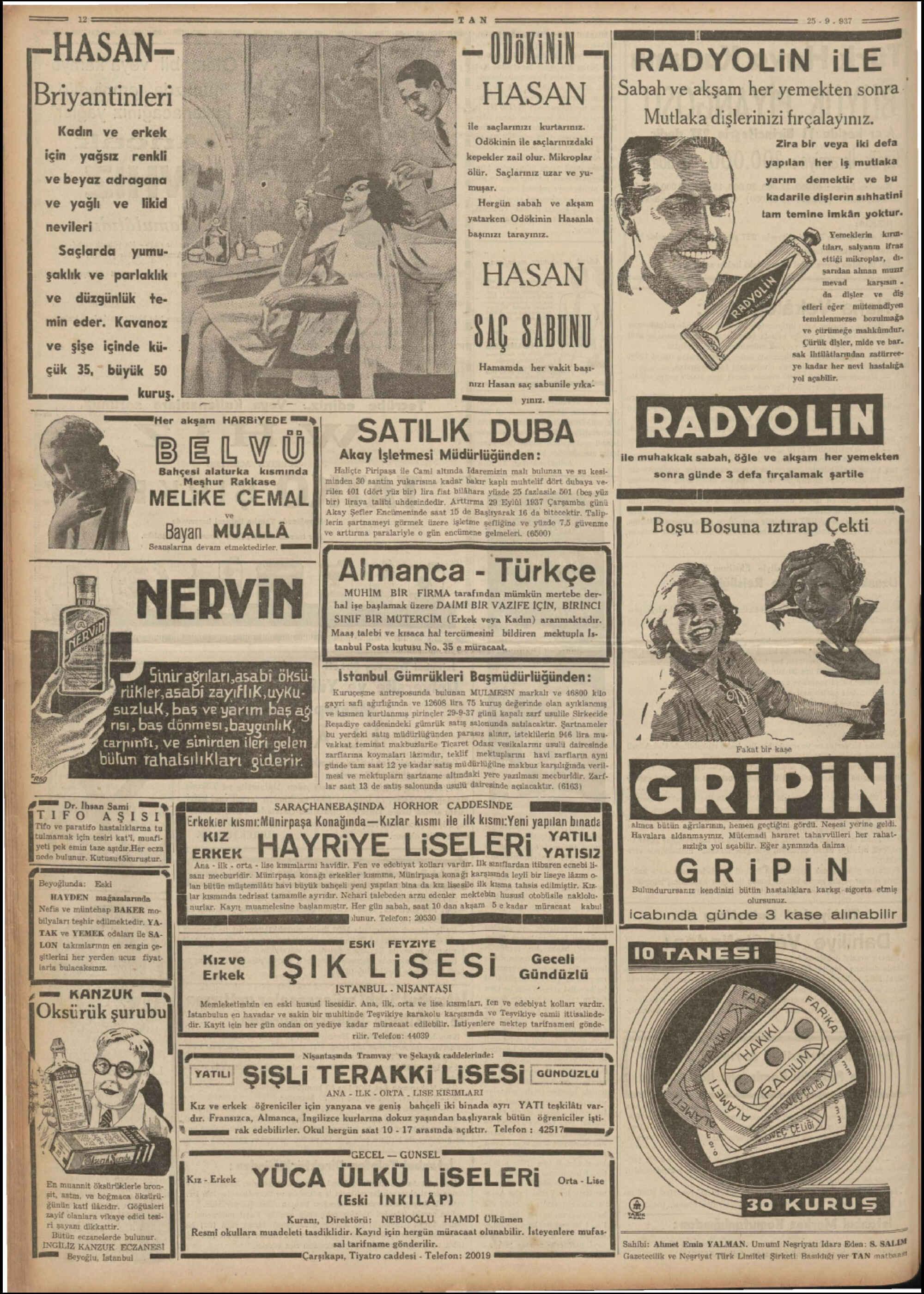 25 Eylül 1937 Tarihli Tan Dergisi Sayfa 12