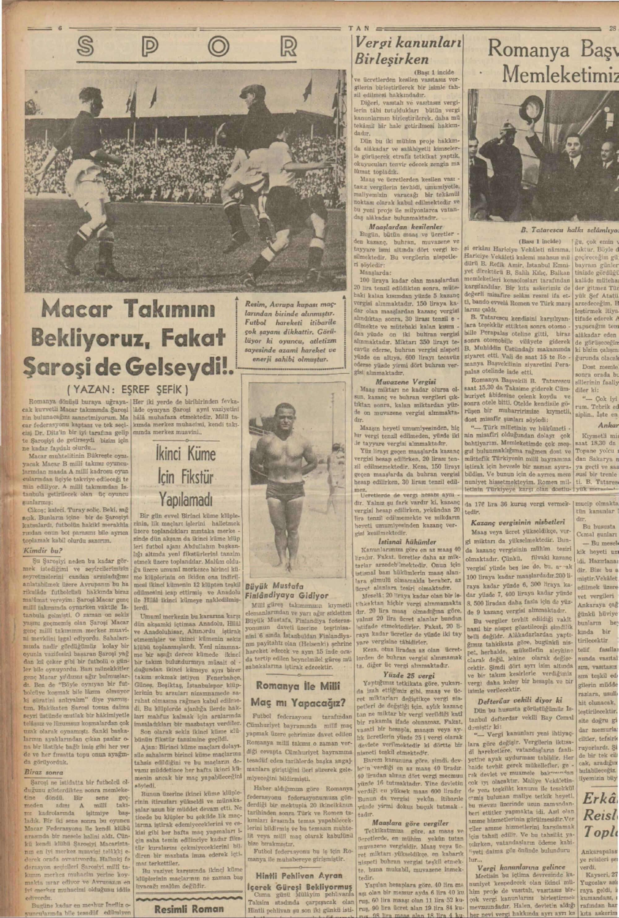 28 Kasım 1937 Tarihli Tan Dergisi Sayfa 6