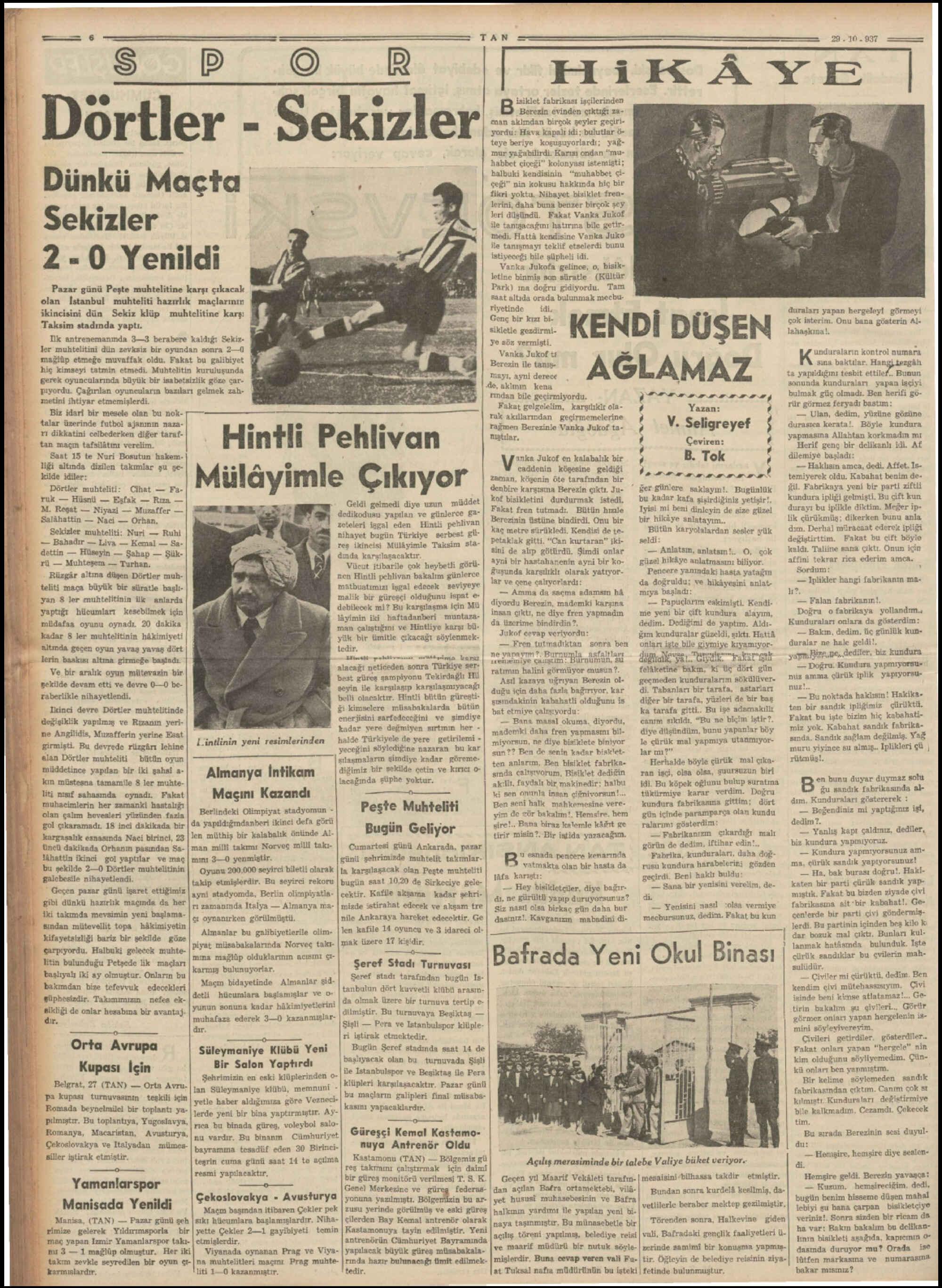 29 Kasım 1937 Tarihli Tan Dergisi Sayfa 6