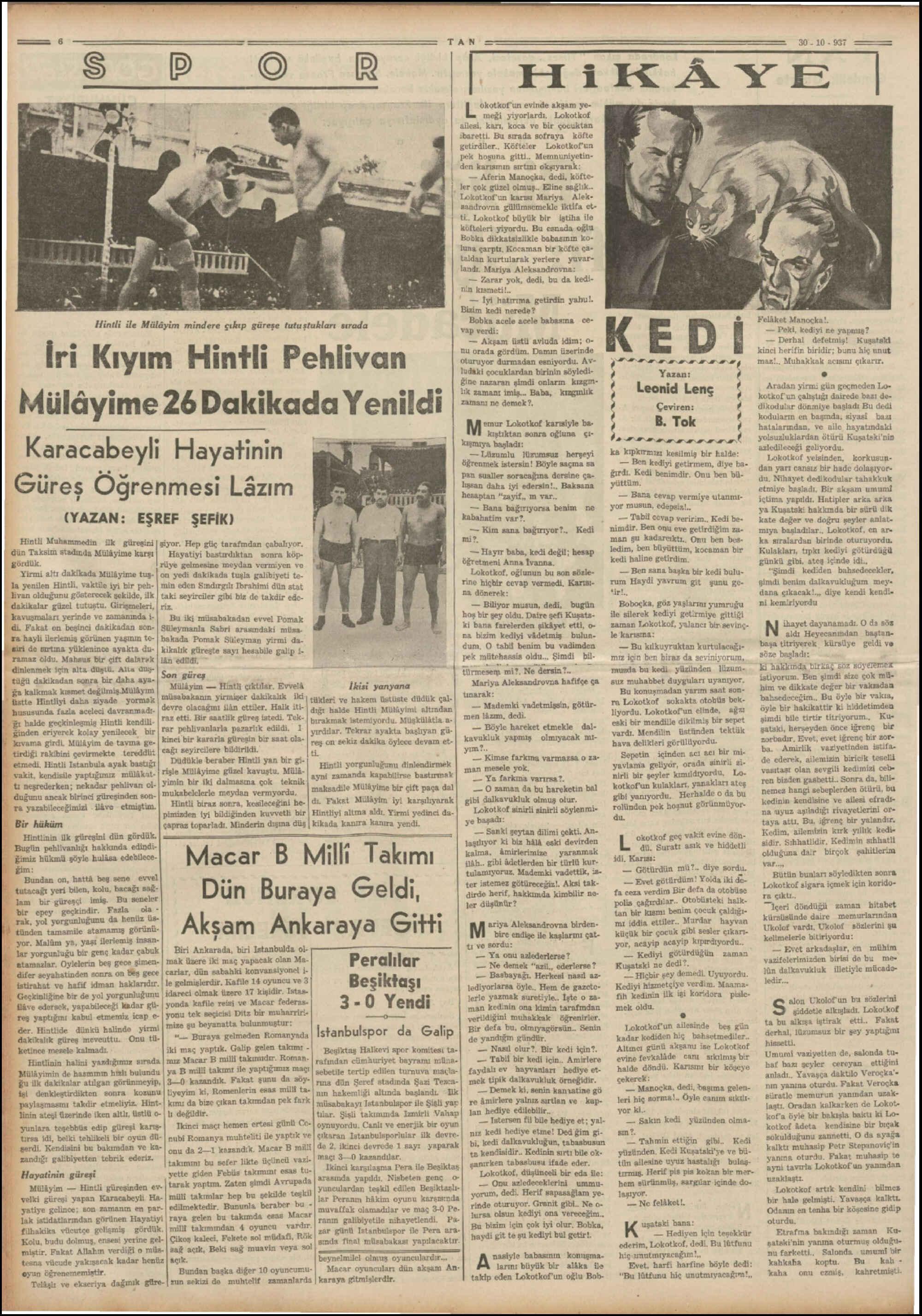 30 Kasım 1937 Tarihli Tan Dergisi Sayfa 6
