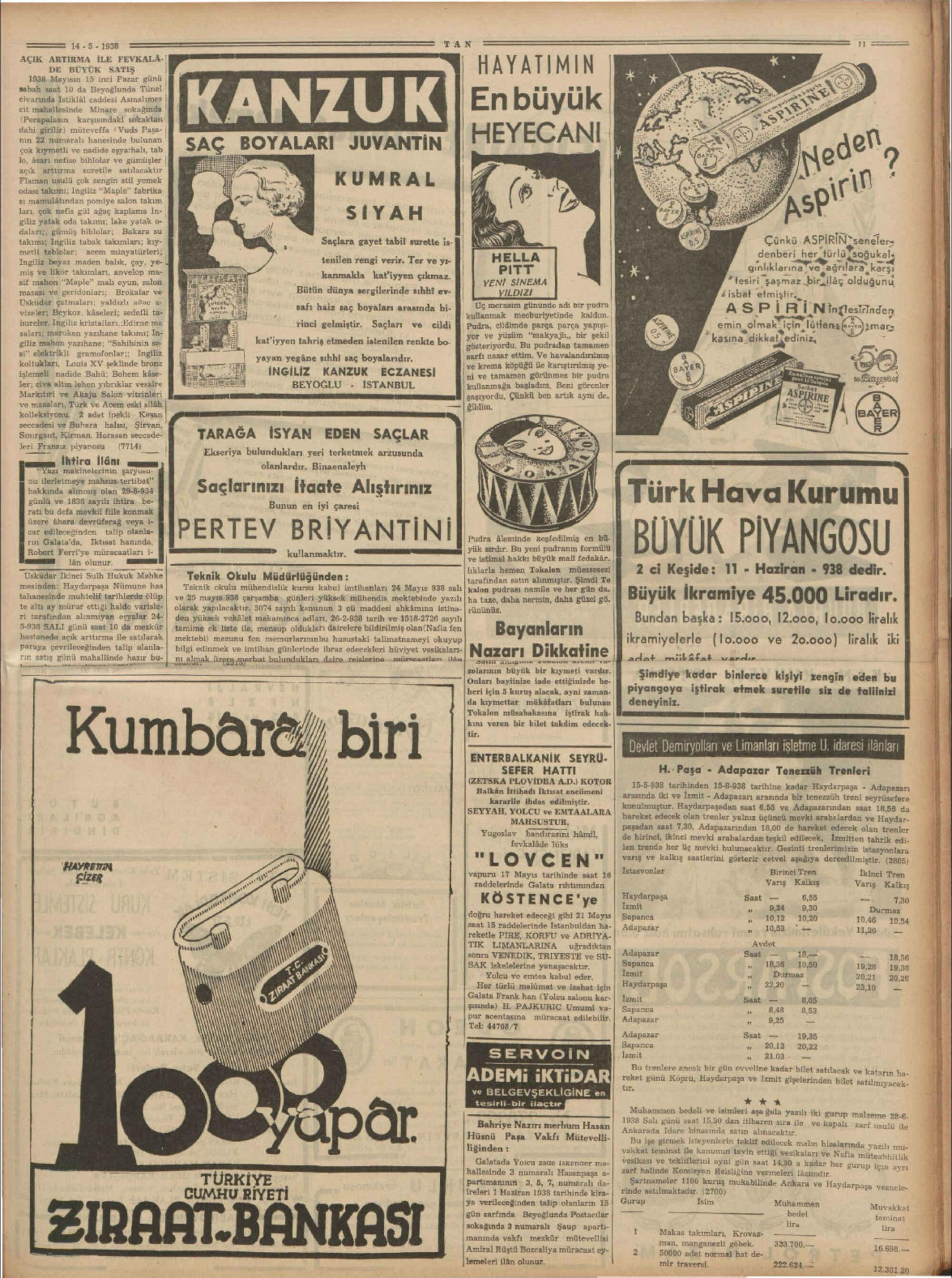 14 Mayıs 1938 Tarihli Tan Gazetesi Sayfa 11