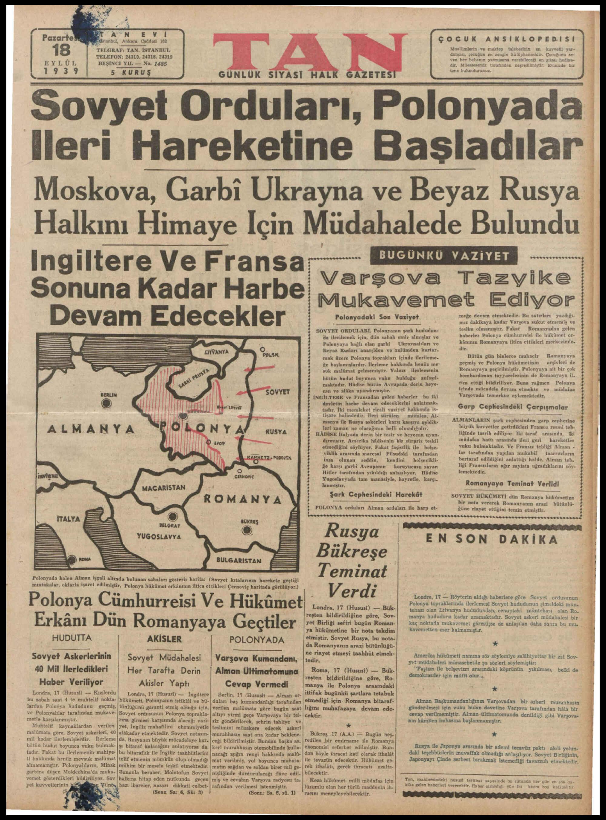 18 Eylül 1939 Tarihli Tan Dergisi Sayfa 1