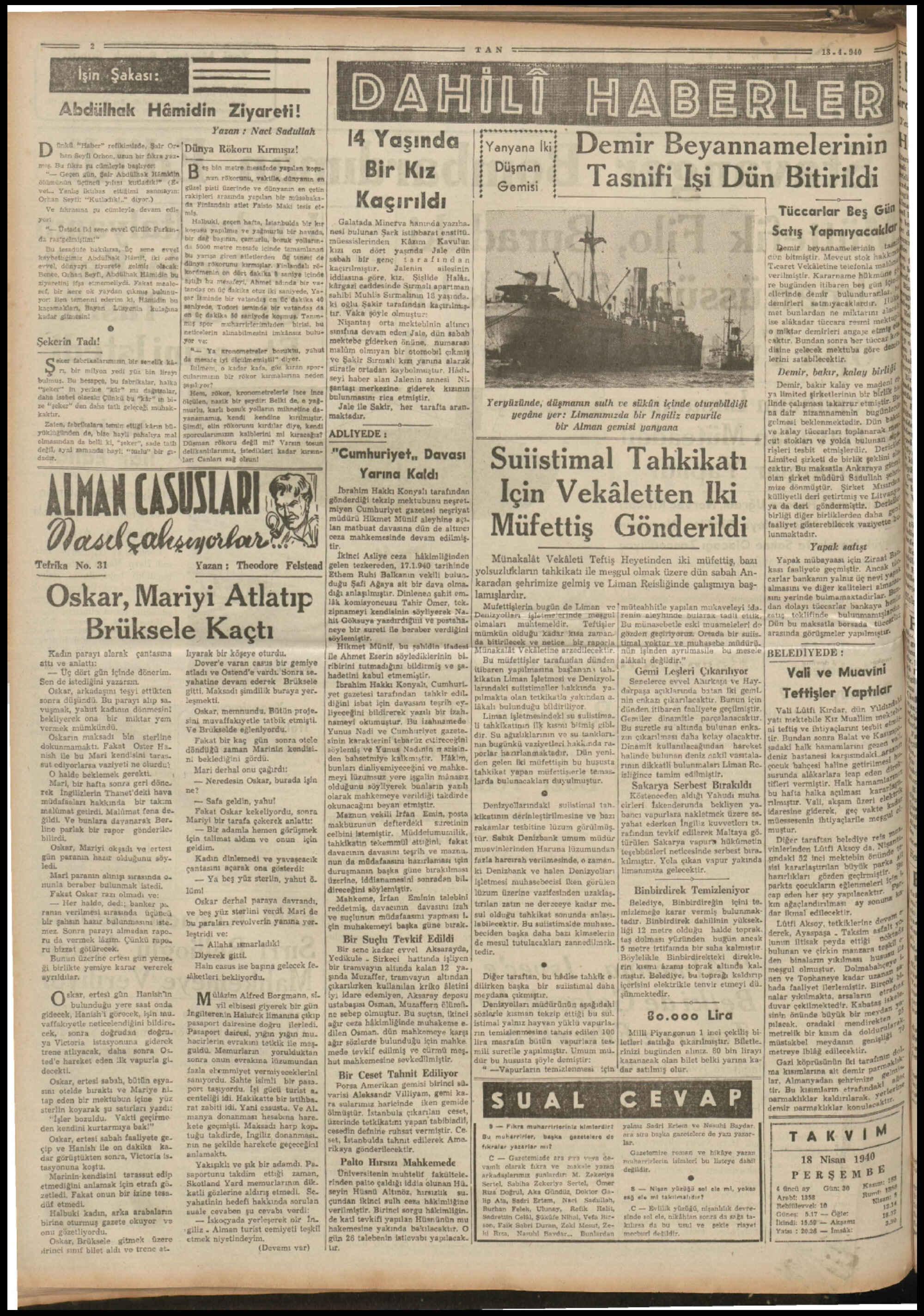 18 Nisan 1940 Tarihli Tan Gazetesi Sayfa 2
