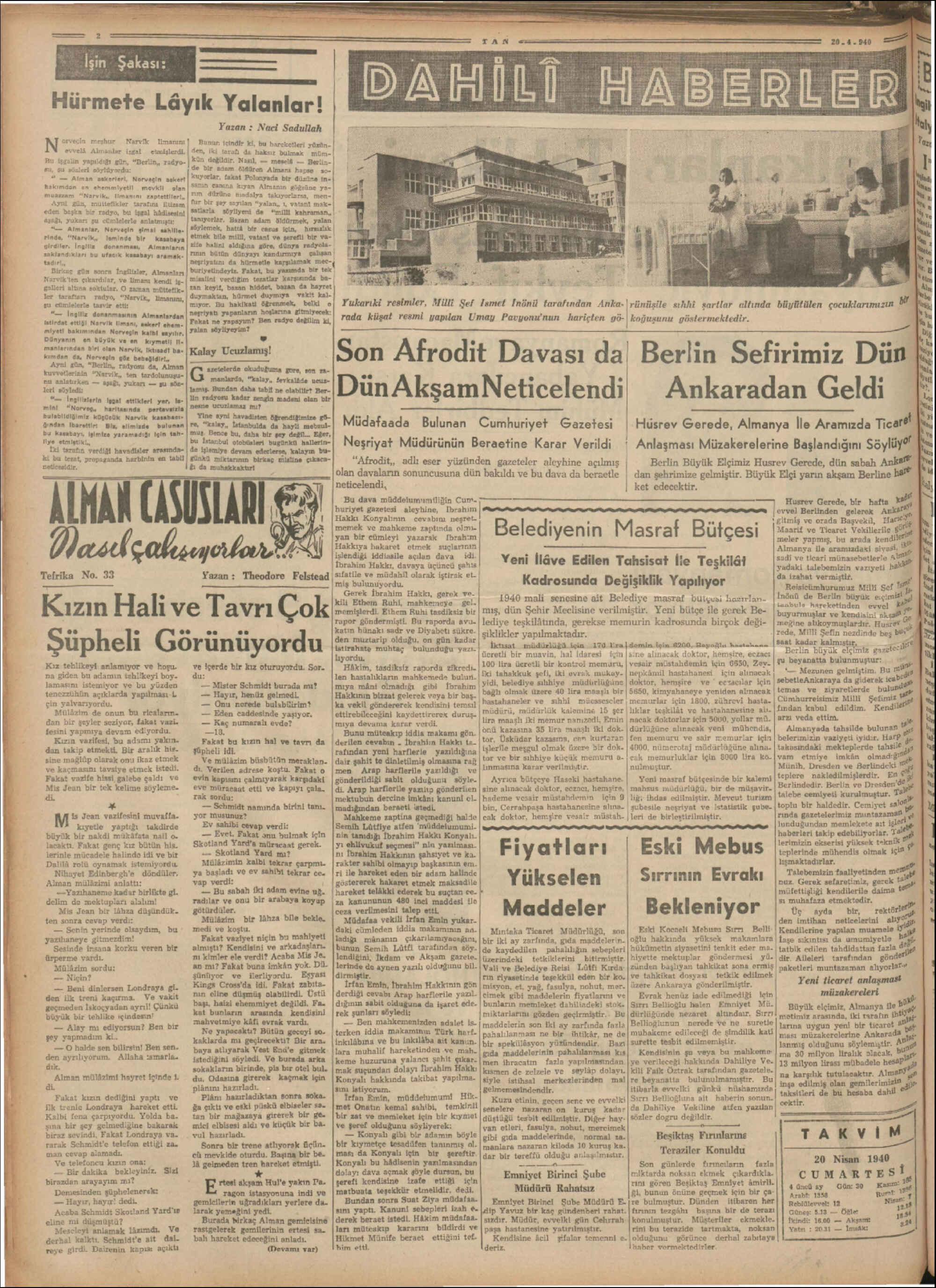 20 Nisan 1940 Tarihli Tan Gazetesi Sayfa 2