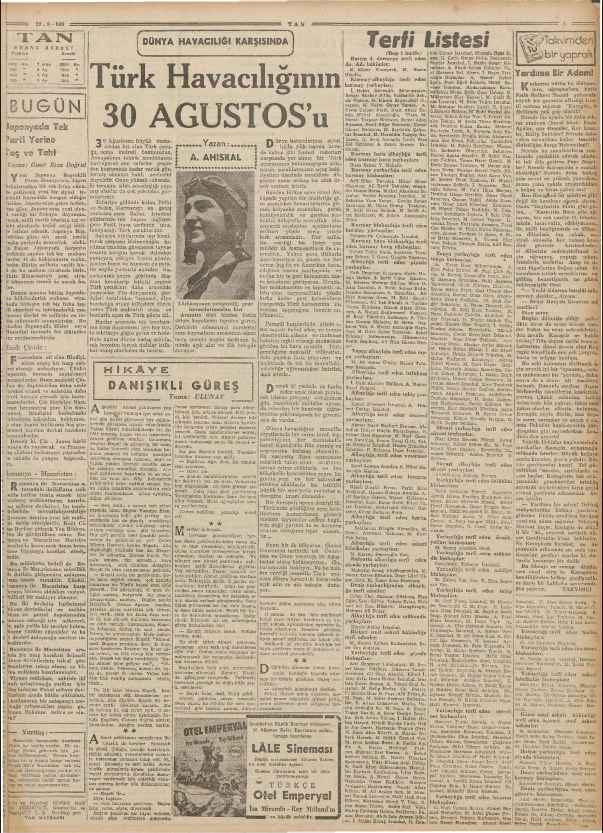 29 Ağustos 1940 Tarihli Tan Gazetesi Sayfa 3