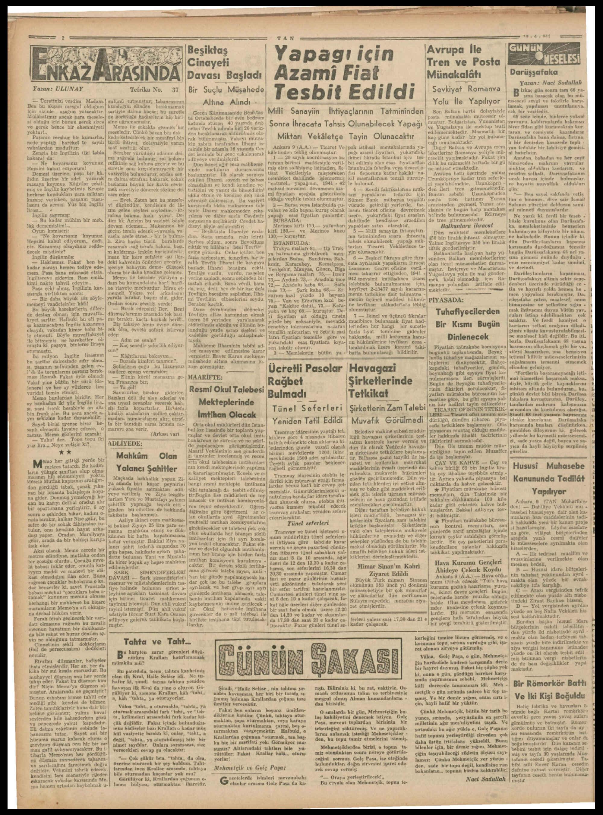 10 Nisan 1941 Tarihli Tan Gazetesi Sayfa 2