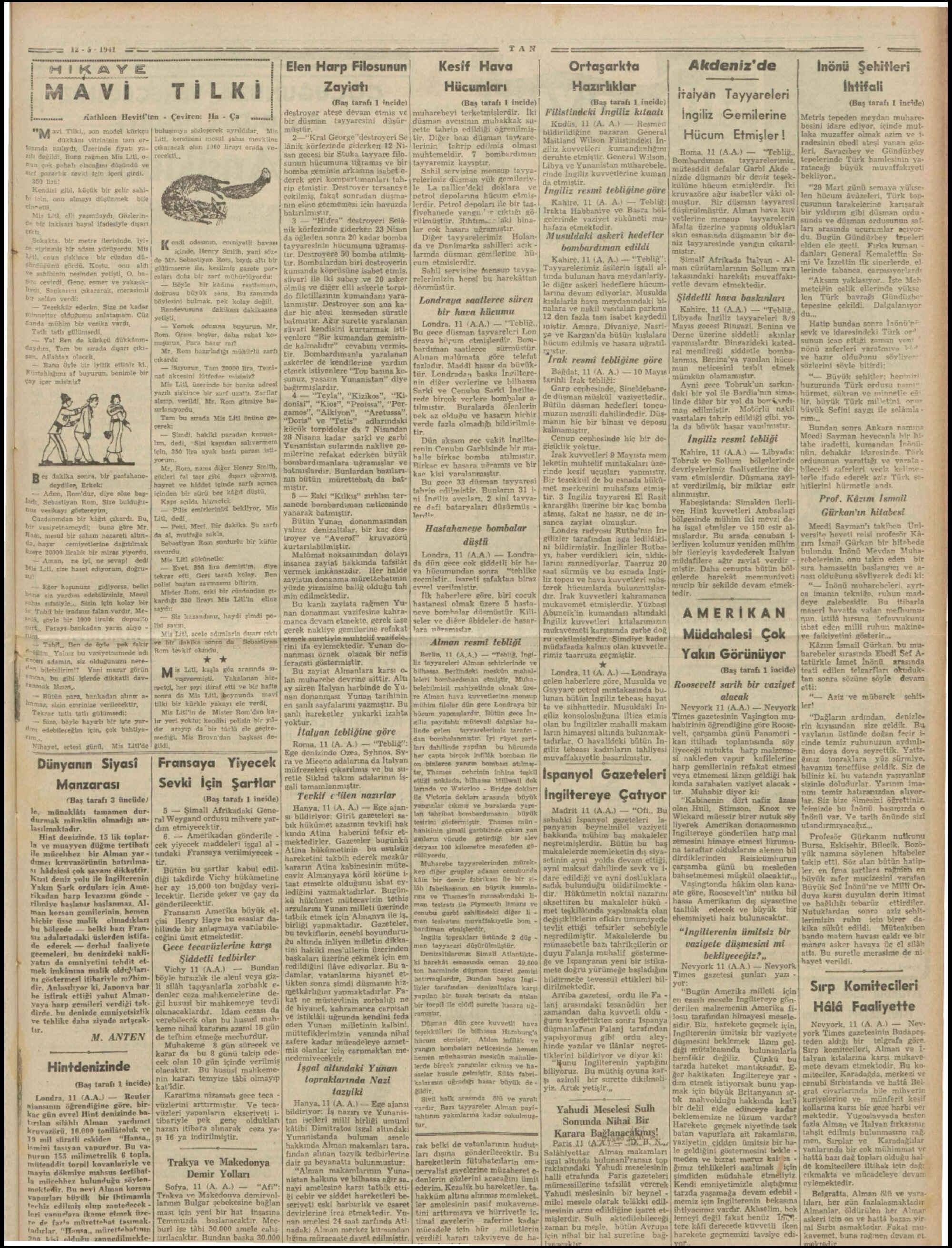 12 Mayıs 1941 Tarihli Tan Dergisi Sayfa 5