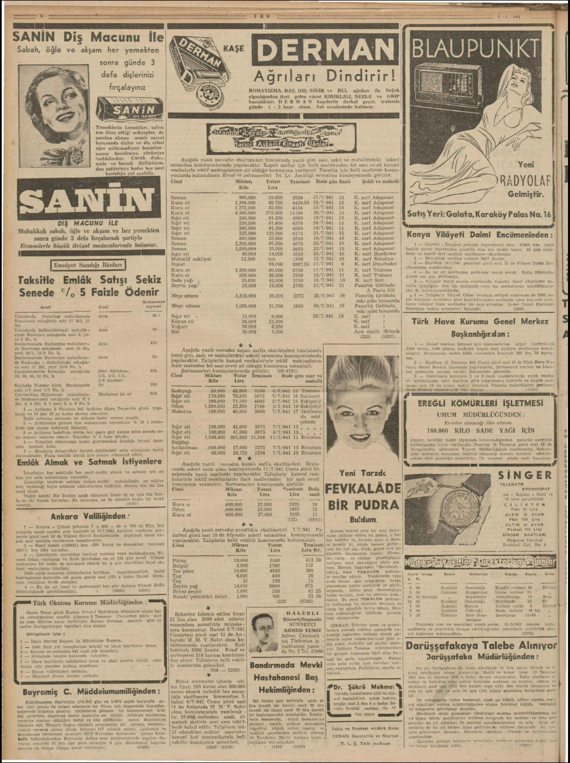 1 Temmuz 1941 Tarihli Tan Gazetesi Sayfa 6
