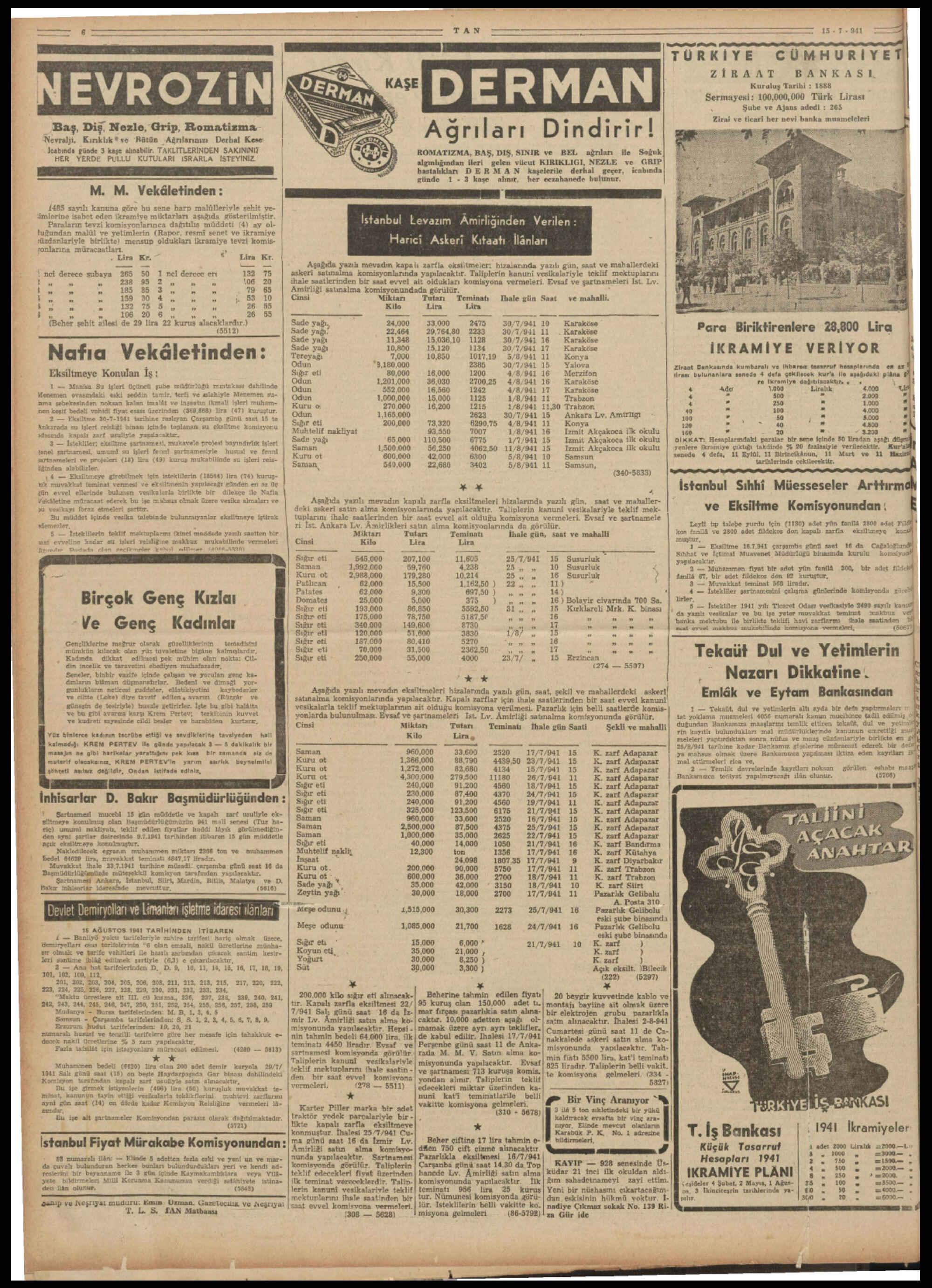 15 Temmuz 1941 Tarihli Tan Gazetesi Sayfa 6