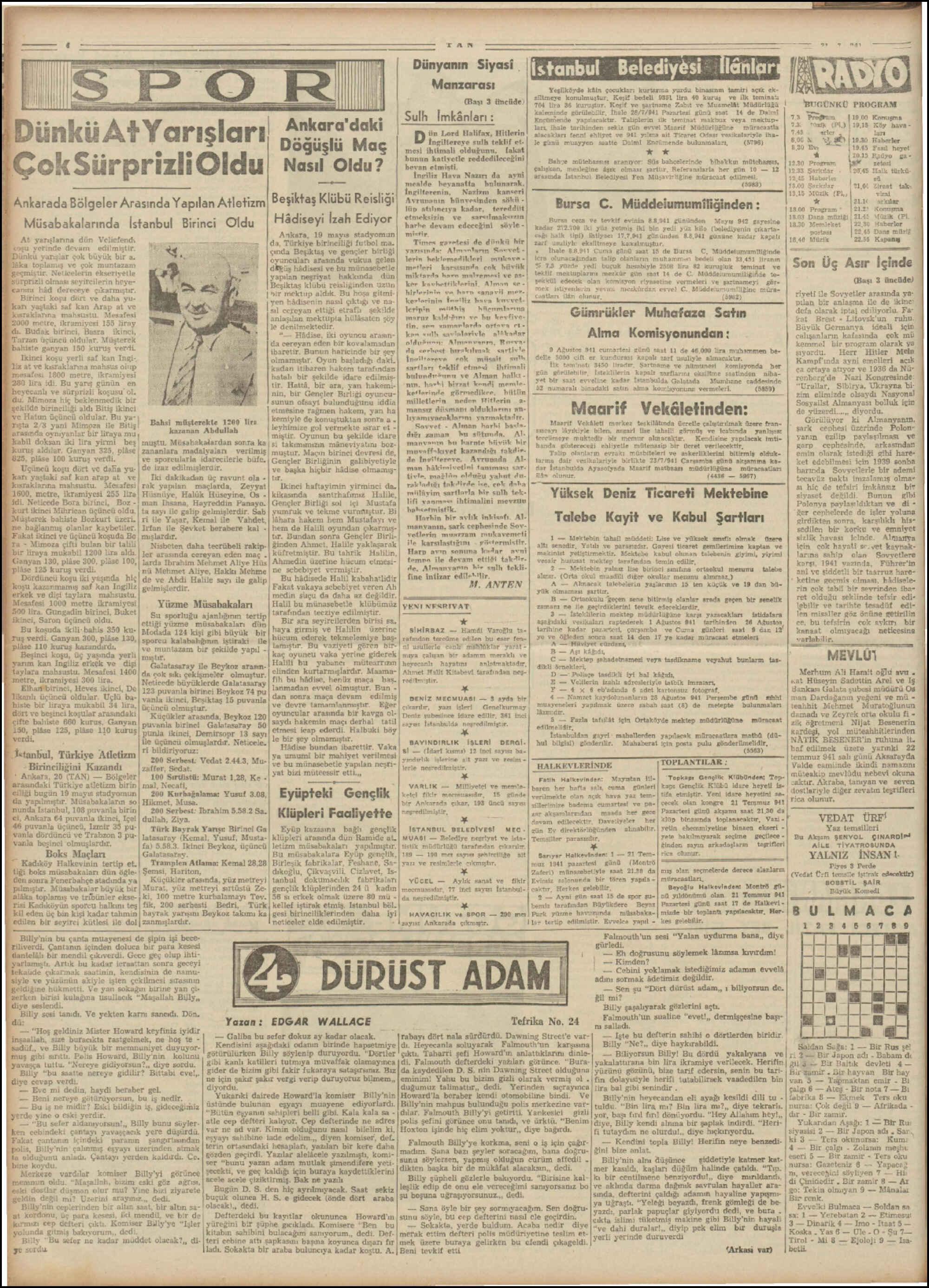 July 21, 1941 Tarihli Tan Dergisi Sayfa 4