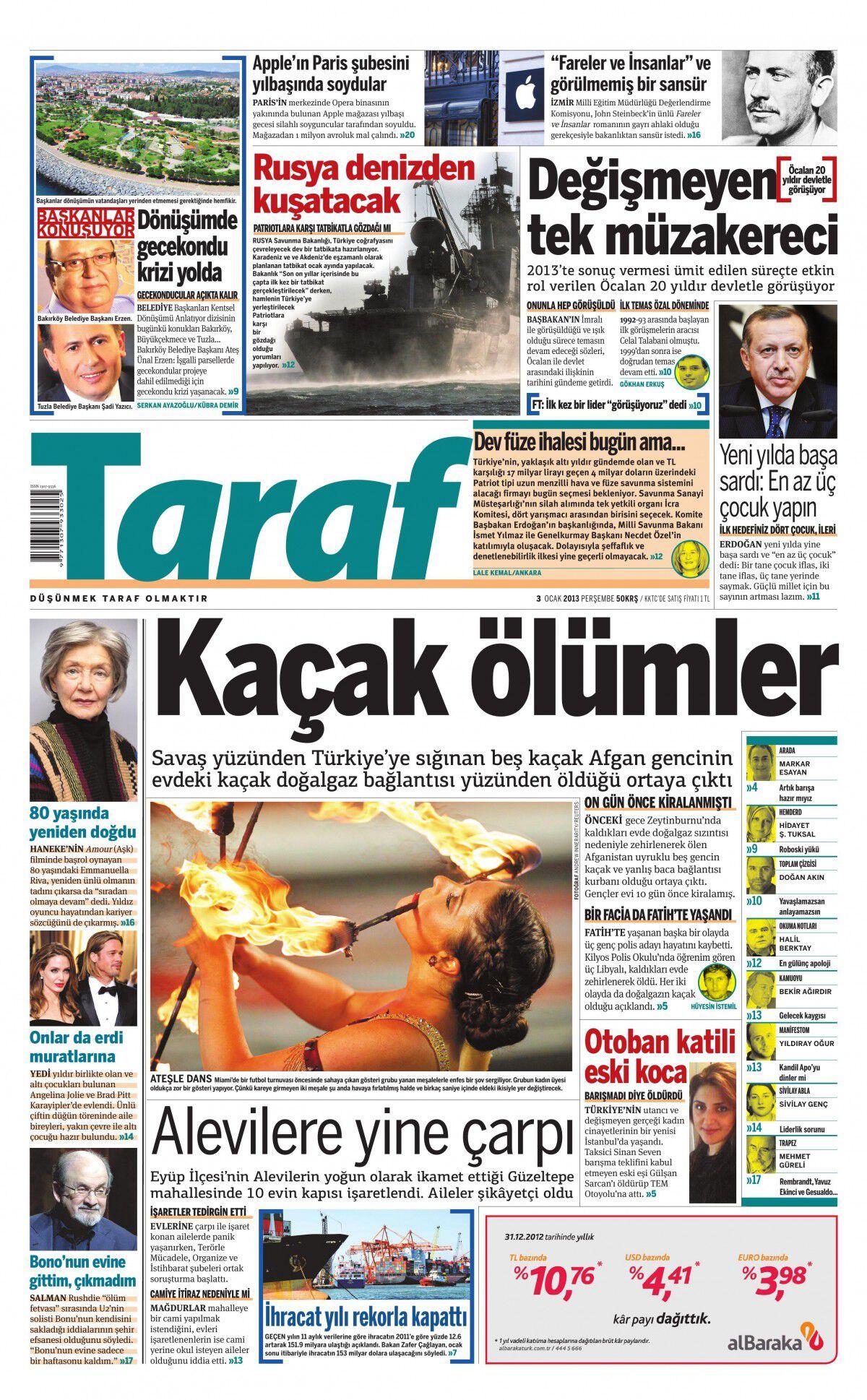 3 Ocak 2013 tarihli Taraf Gazetesi Sayfa 1