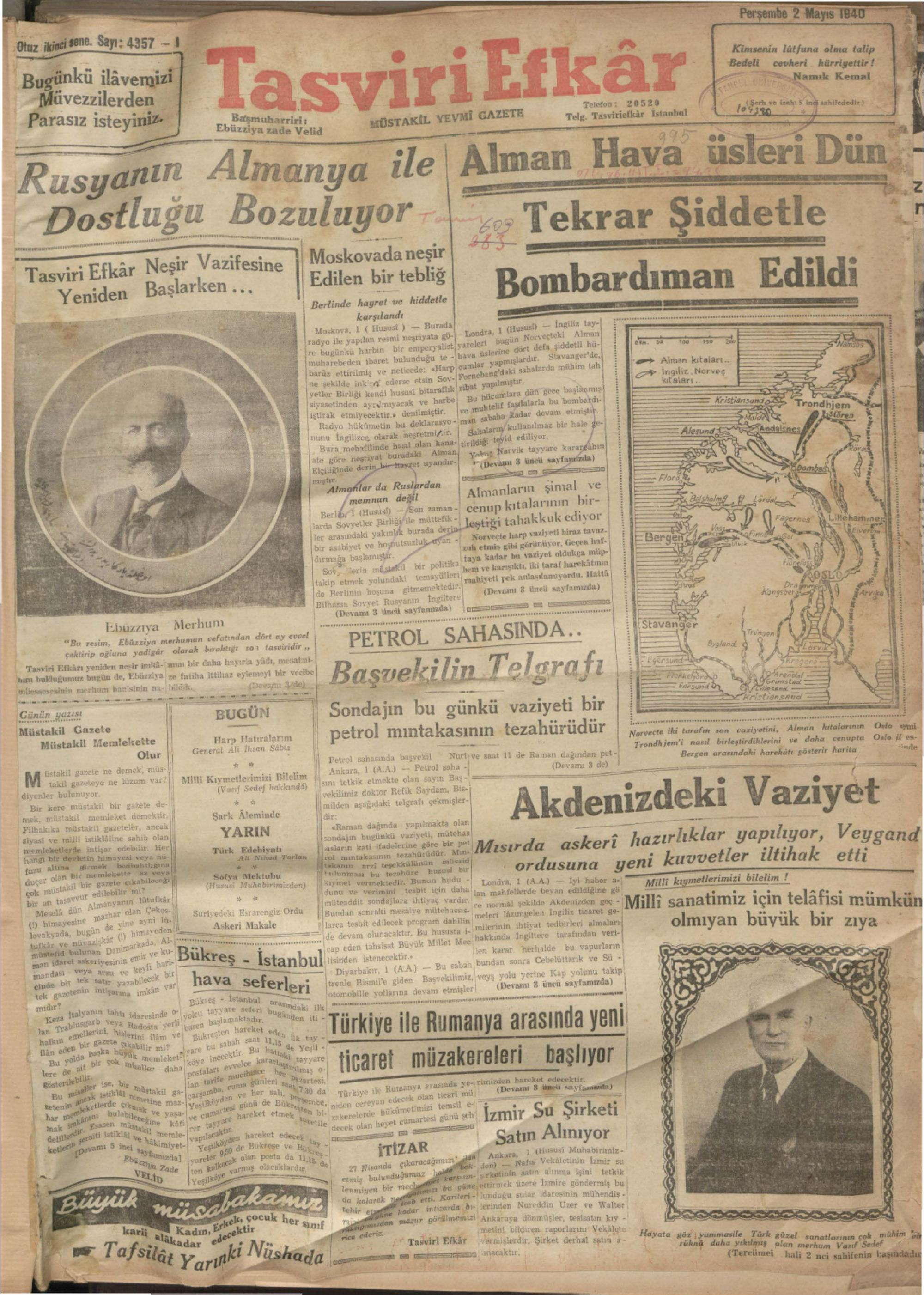 2 Mayıs 1940 Tarihli Tasviri Efkar Gazetesi Sayfa 1