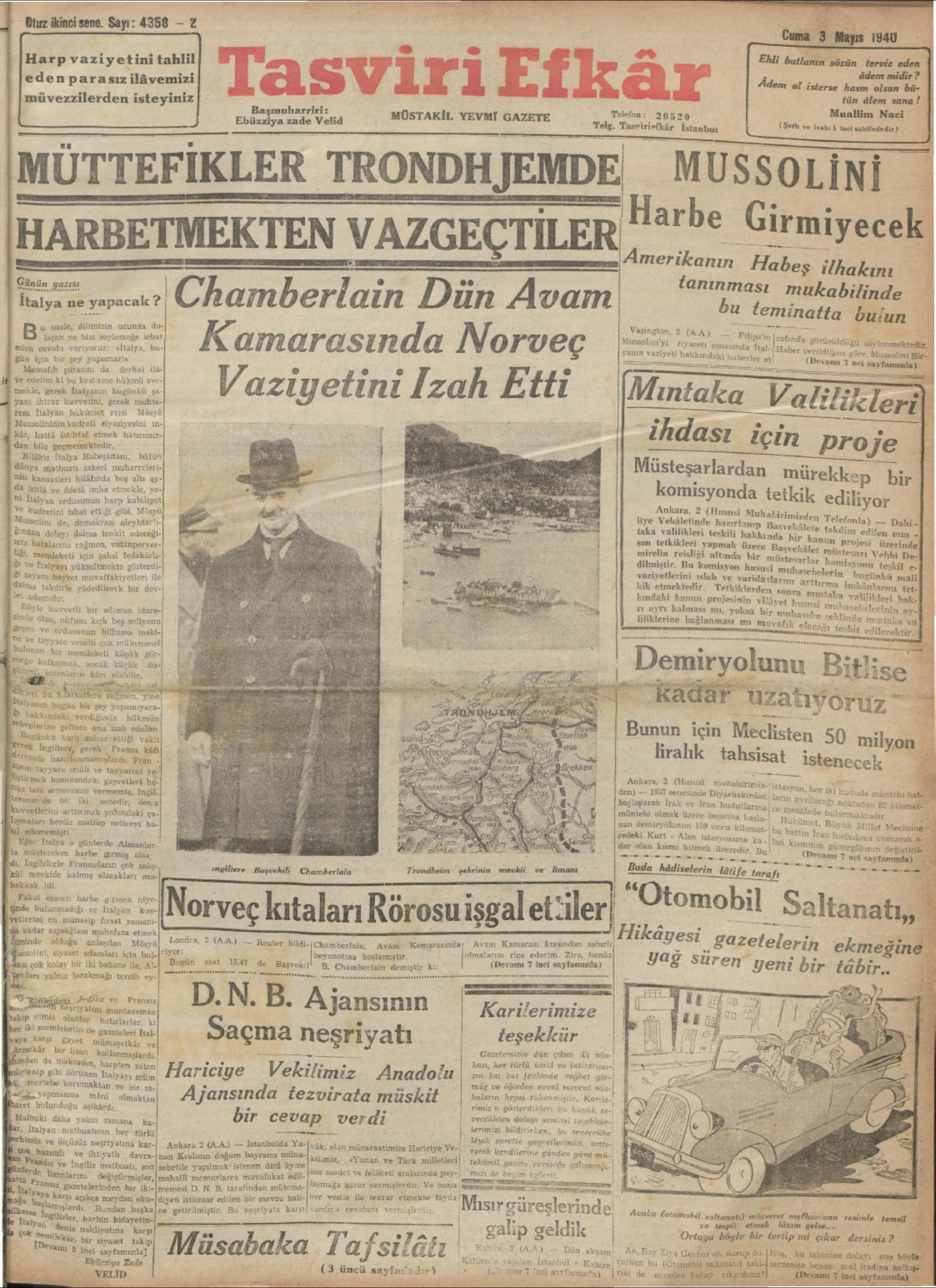 3 Mayıs 1940 Tarihli Tasviri Efkar Gazetesi Sayfa 1