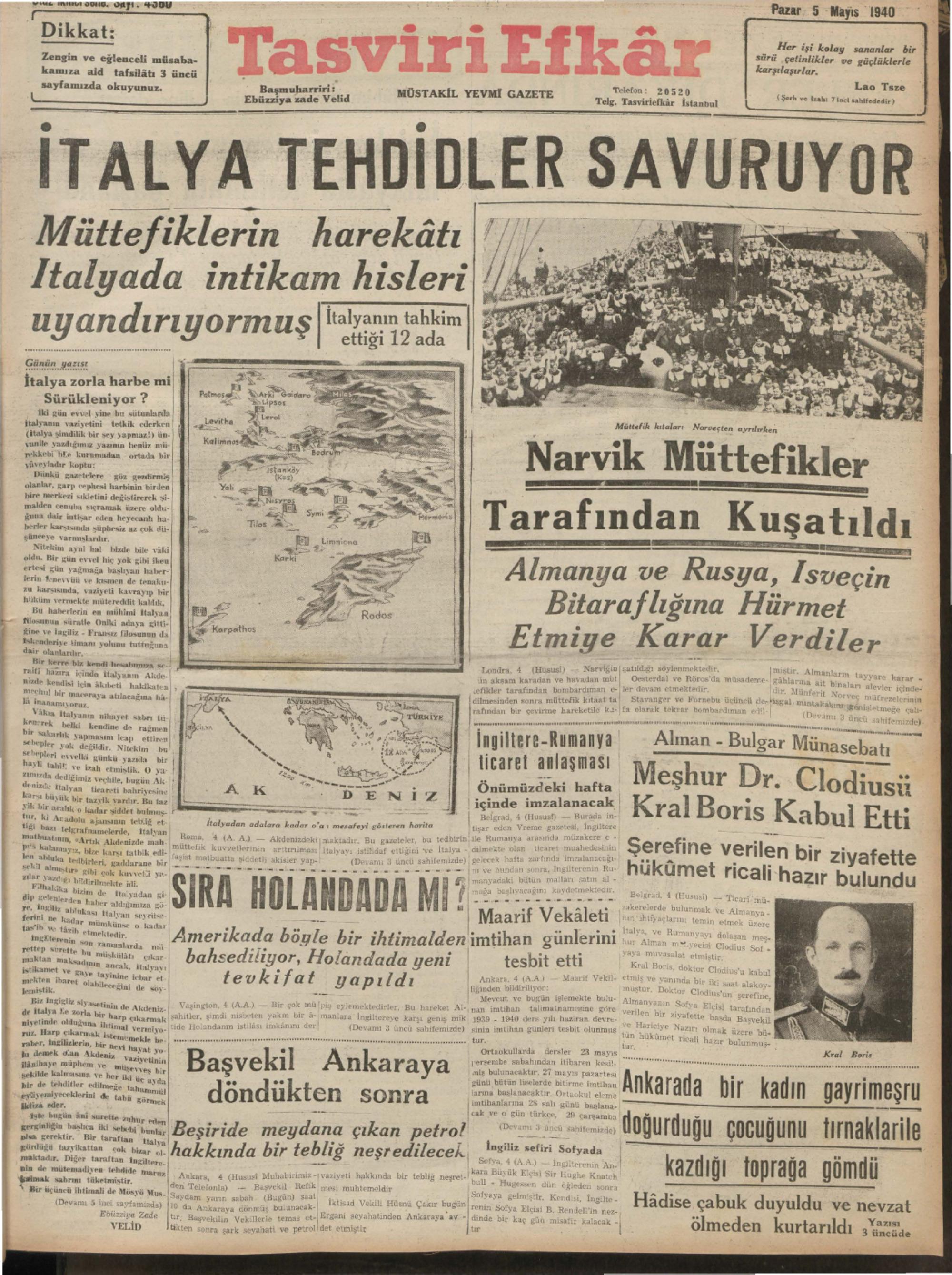 5 Mayıs 1940 Tarihli Tasviri Efkar Gazetesi Sayfa 1