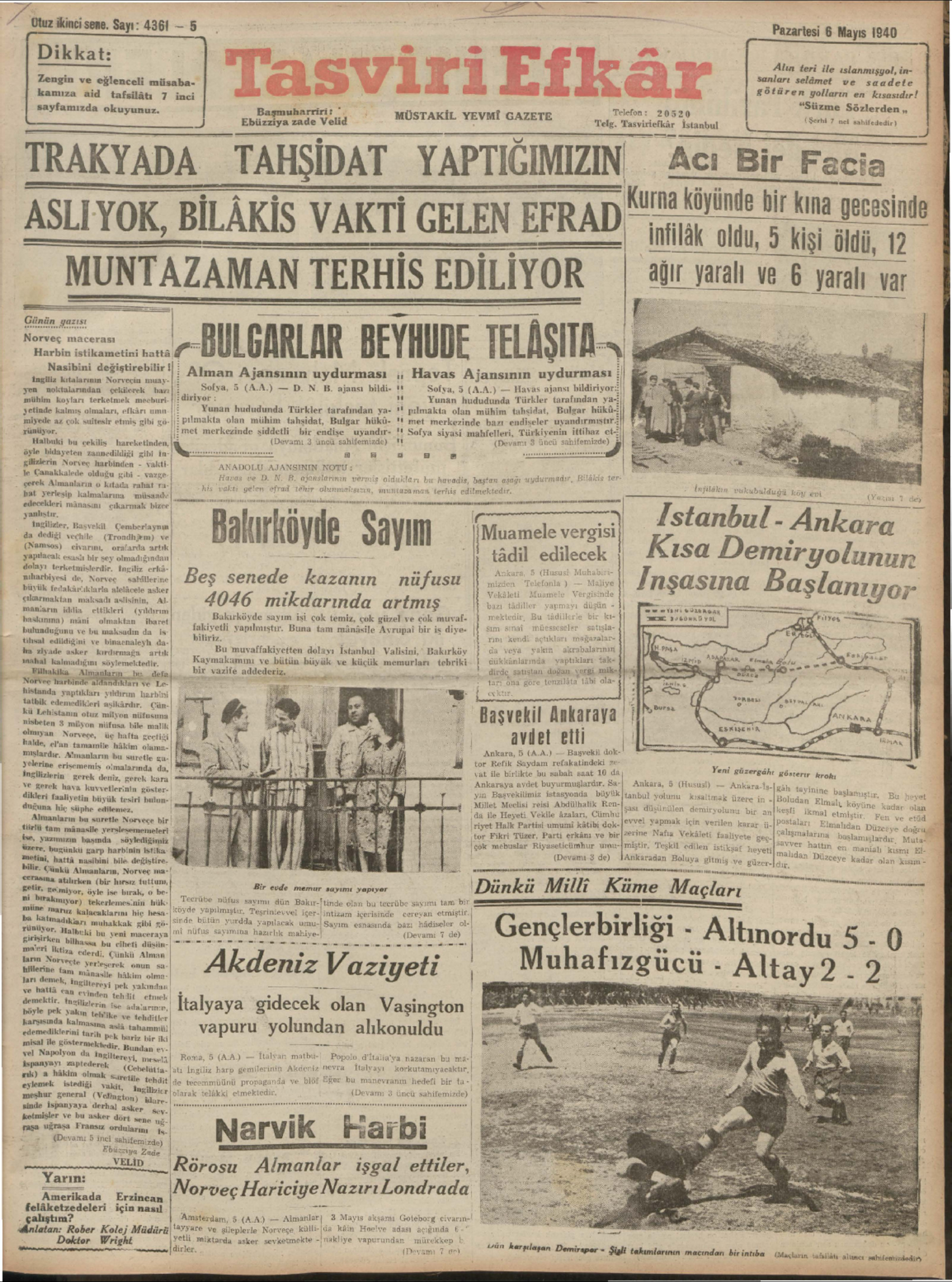 6 Mayıs 1940 Tarihli Tasviri Efkar Gazetesi Sayfa 1