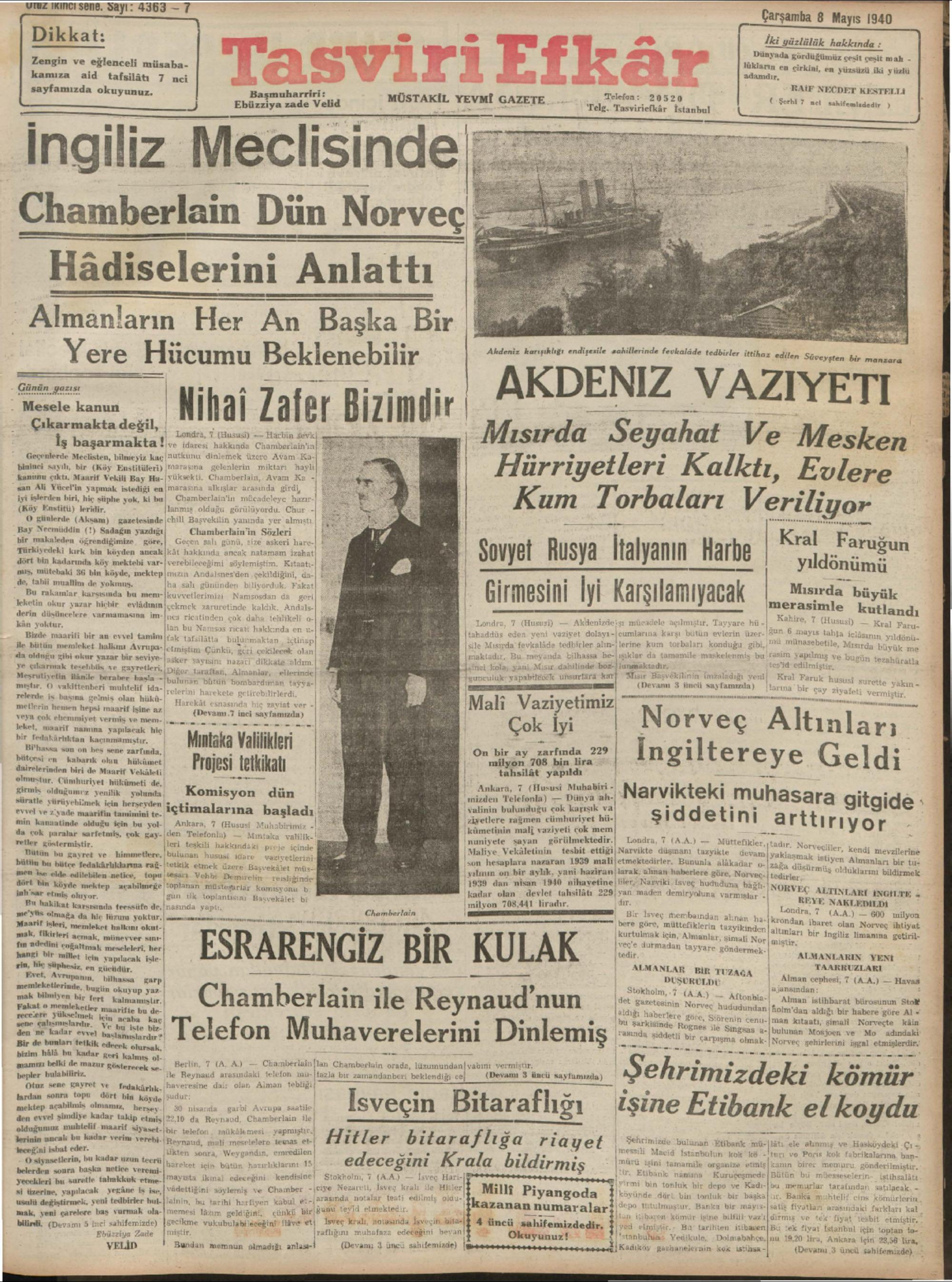 8 Mayıs 1940 Tarihli Tasviri Efkar Gazetesi Sayfa 1