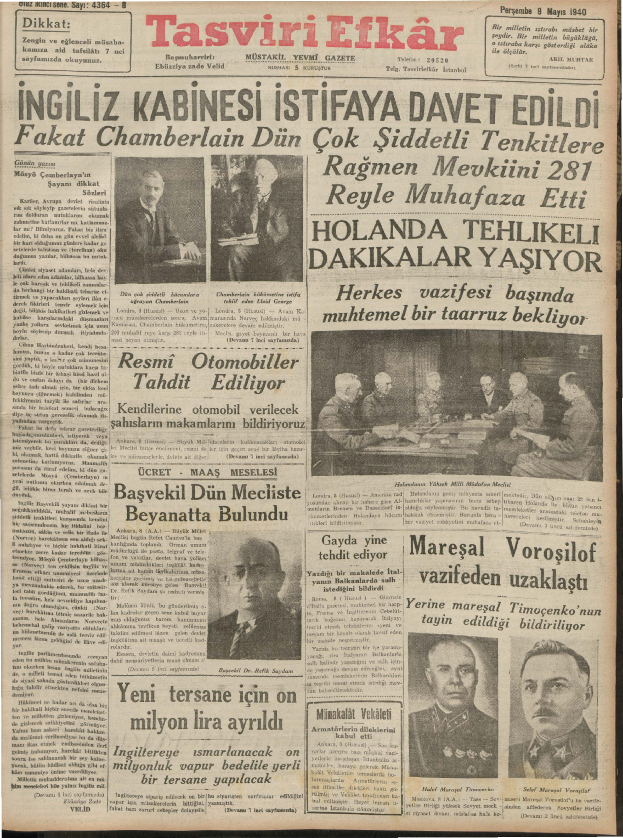 9 Mayıs 1940 Tarihli Tasviri Efkar Gazetesi Sayfa 1