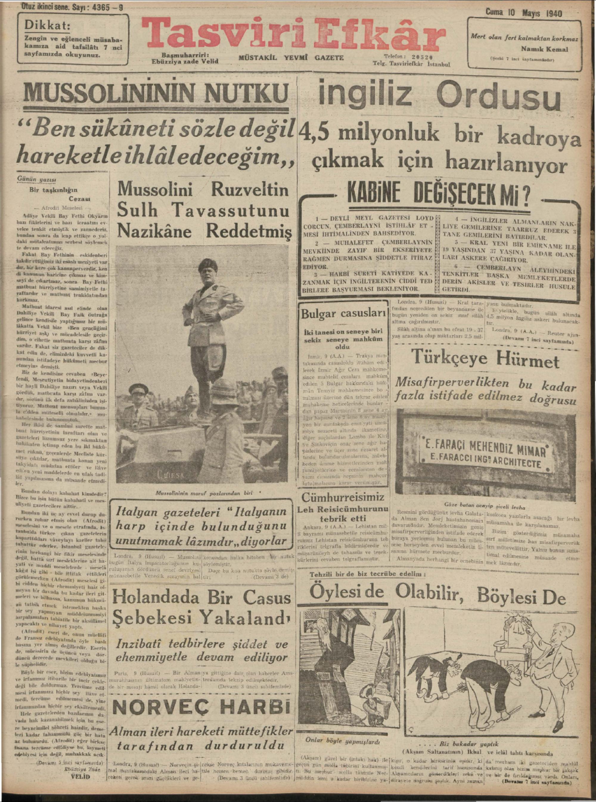 10 Mayıs 1940 Tarihli Tasviri Efkar Gazetesi Sayfa 1