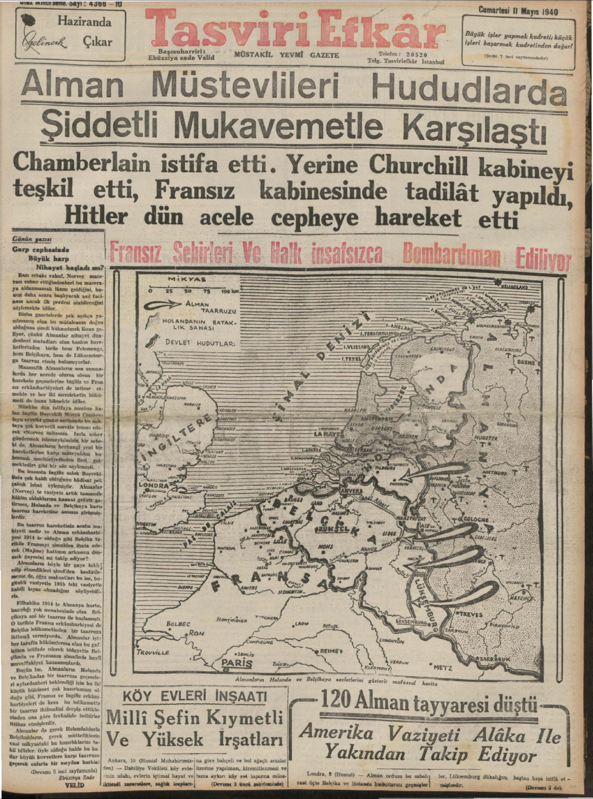 11 Mayıs 1940 Tarihli Tasviri Efkar Gazetesi Sayfa 1