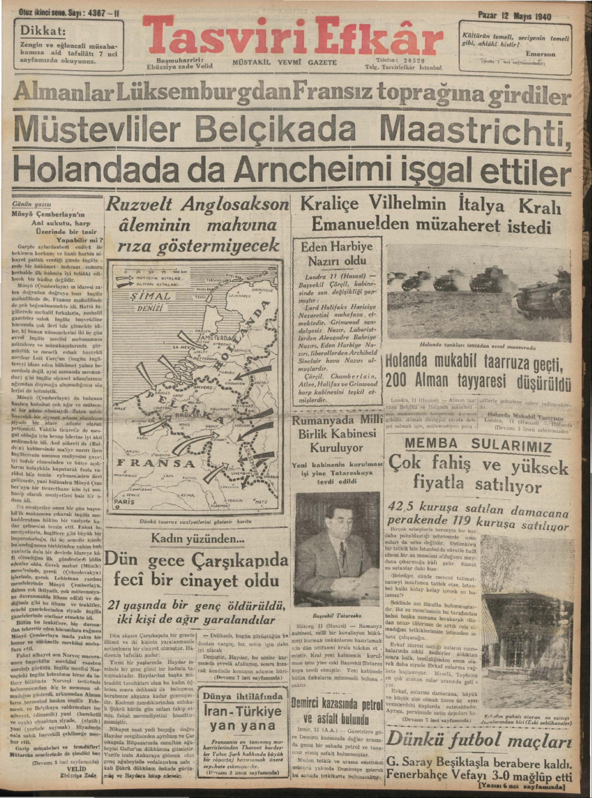 12 Mayıs 1940 Tarihli Tasviri Efkar Gazetesi Sayfa 1