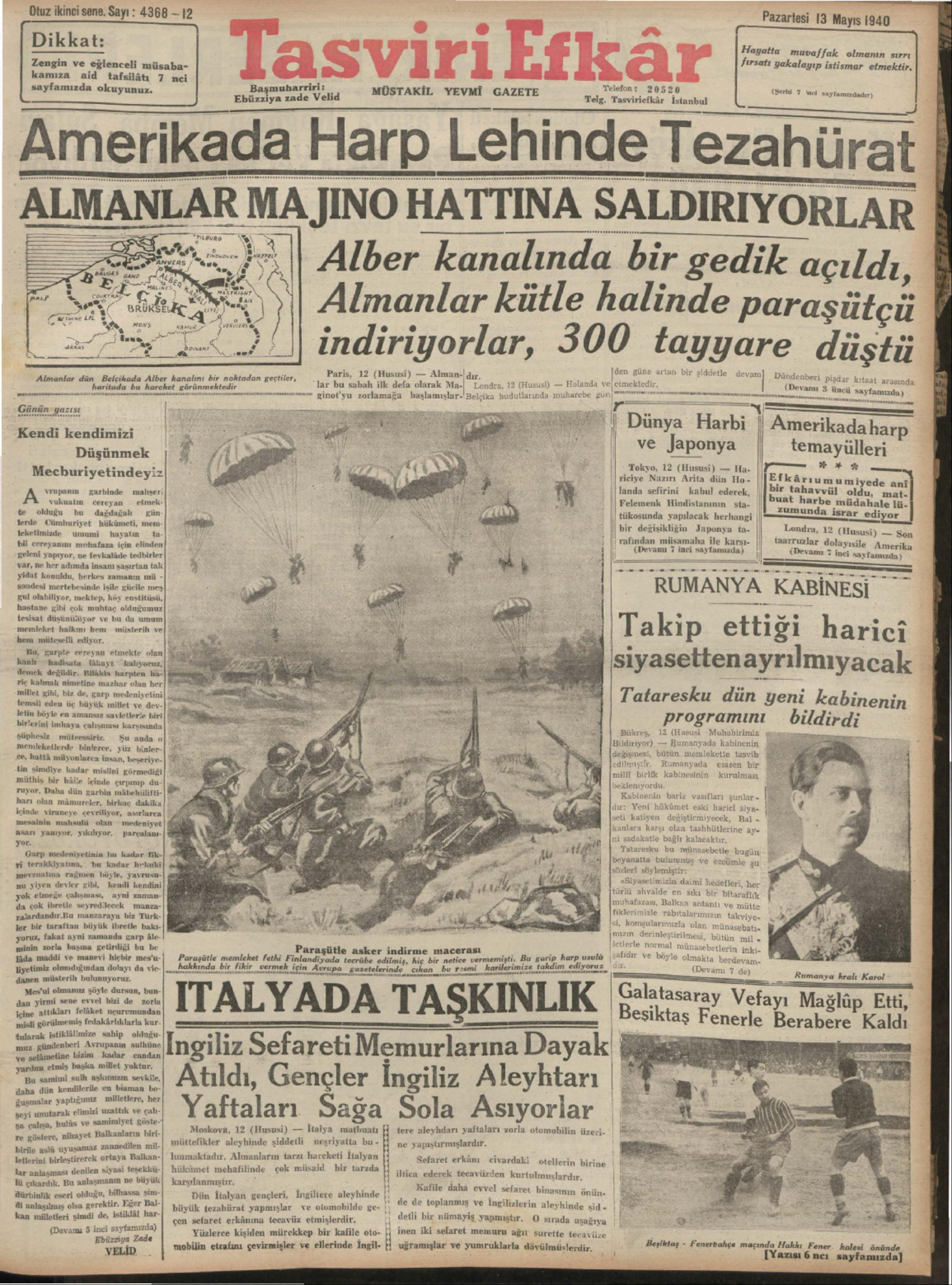 13 Mayıs 1940 Tarihli Tasviri Efkar Gazetesi Sayfa 1