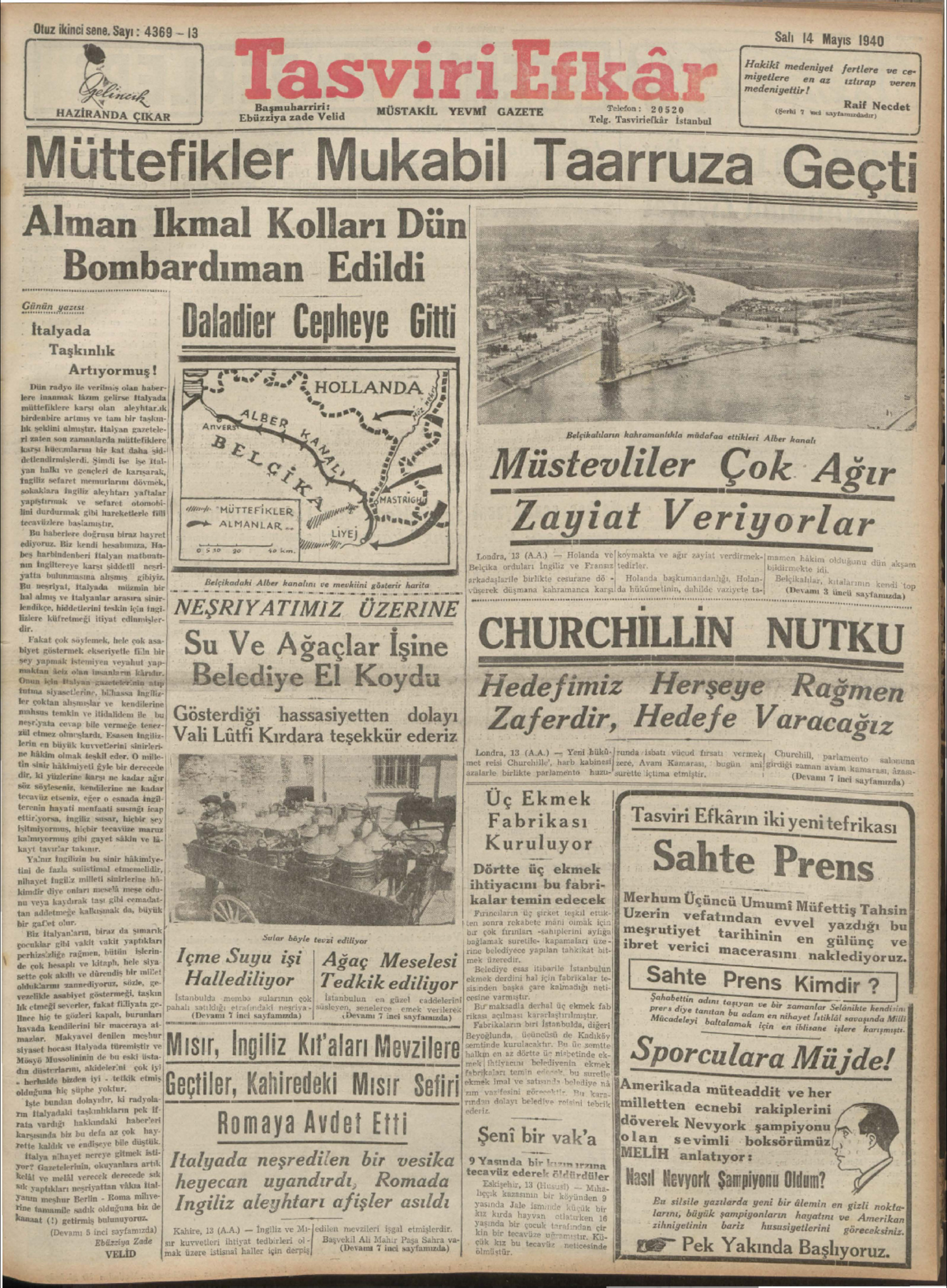 14 Mayıs 1940 Tarihli Tasviri Efkar Gazetesi Sayfa 1